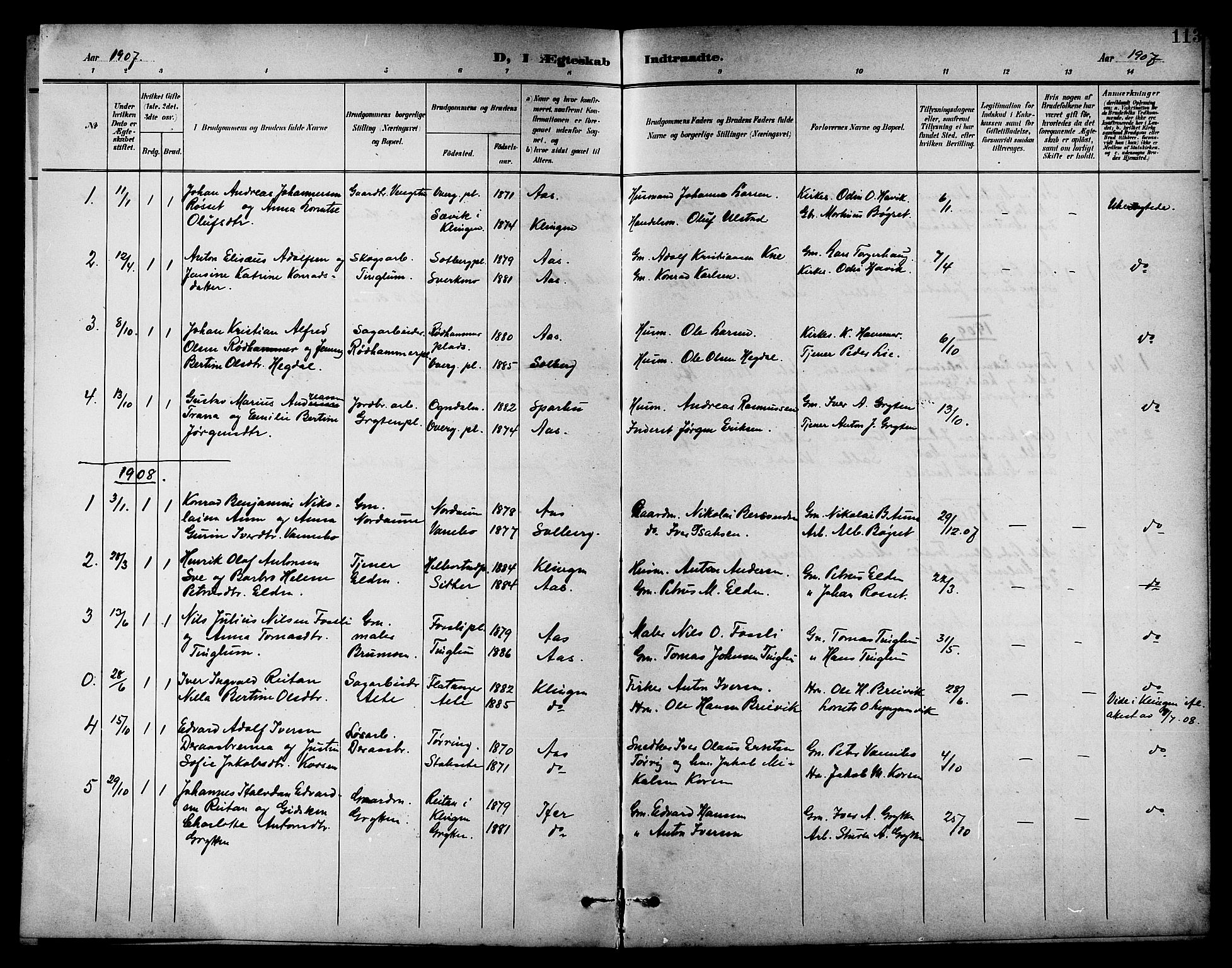 SAT, Ministerialprotokoller, klokkerbøker og fødselsregistre - Nord-Trøndelag, 742/L0412: Klokkerbok nr. 742C03, 1898-1910, s. 113