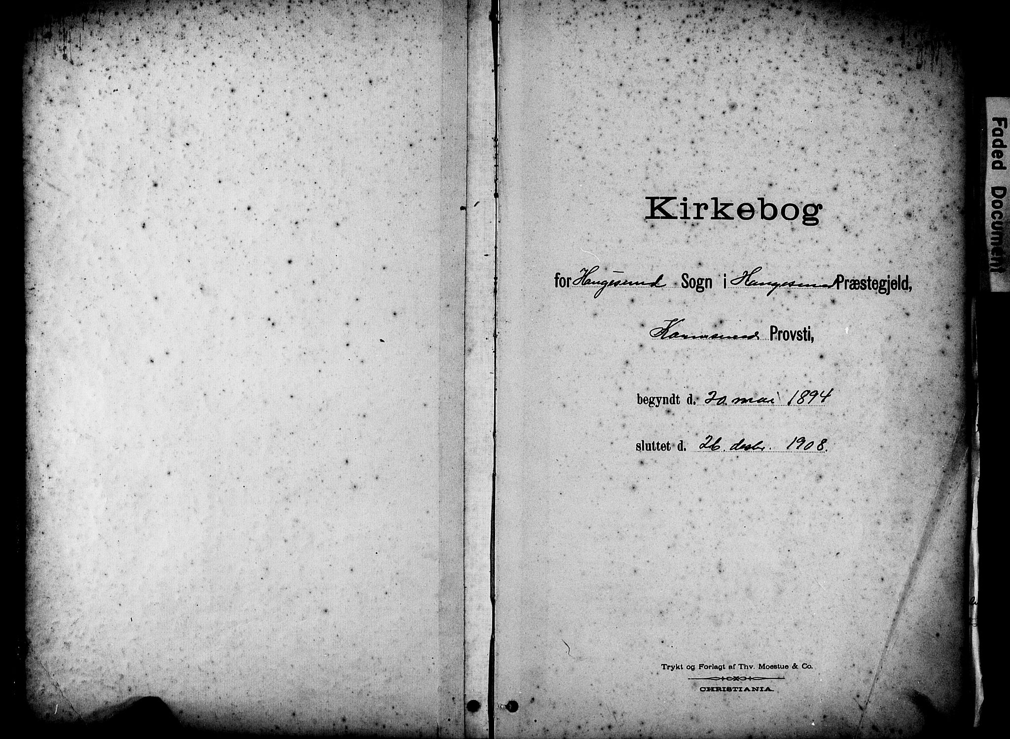 SAST, Haugesund sokneprestkontor, H/Ha/Hab/L0005: Klokkerbok nr. B 5, 1894-1908