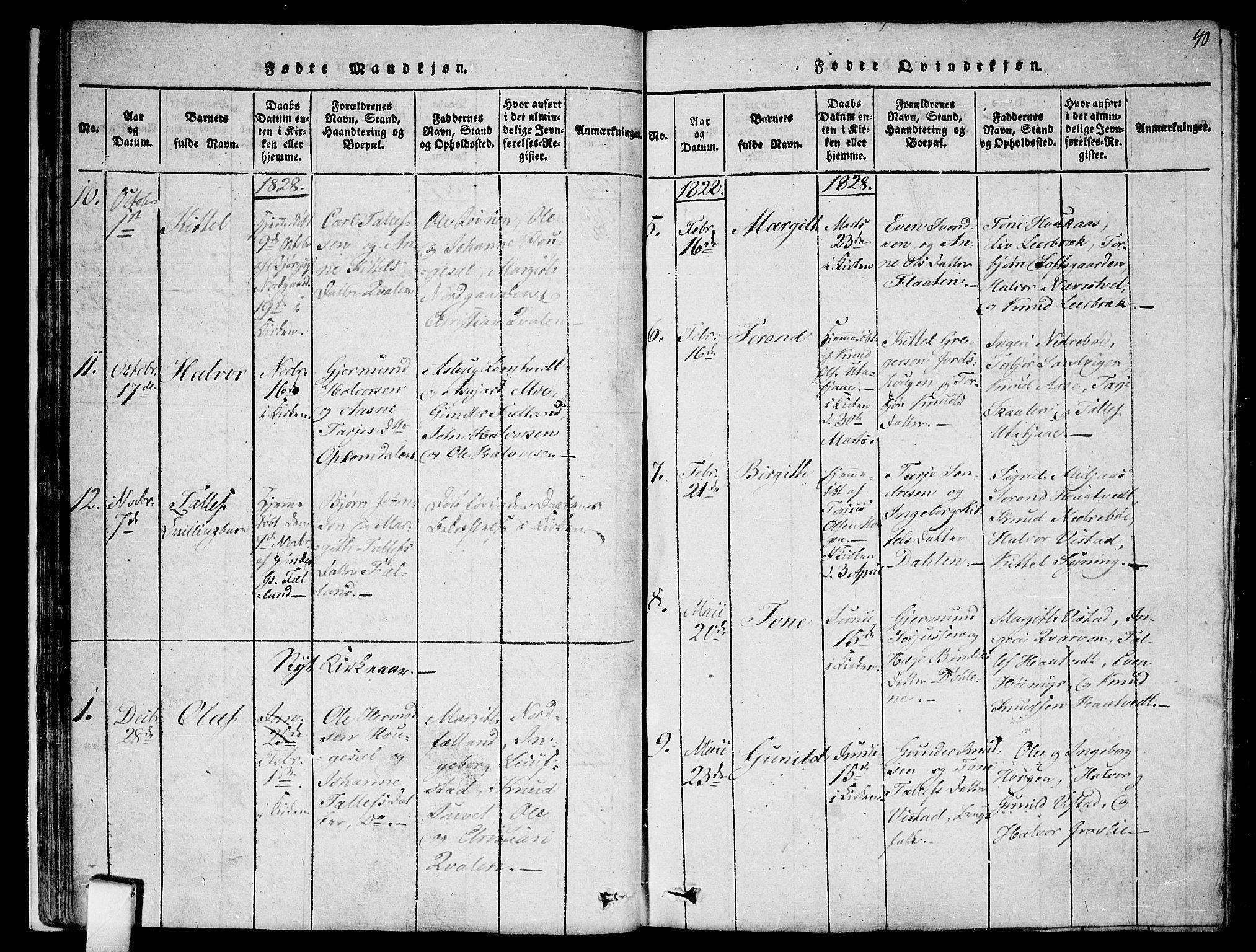 SAKO, Mo kirkebøker, F/Fa/L0004: Ministerialbok nr. I 4, 1814-1844, s. 40
