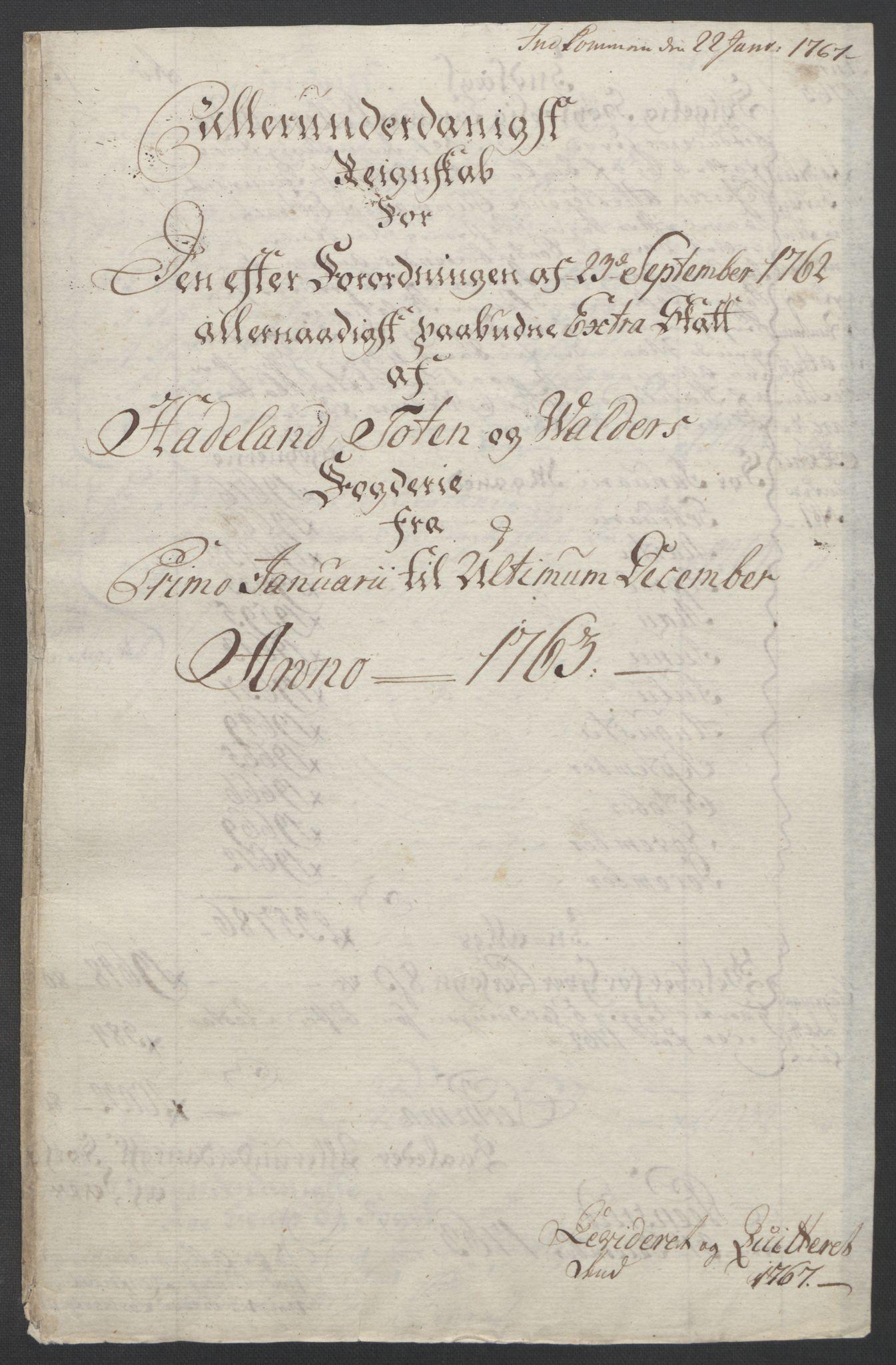 RA, Rentekammeret inntil 1814, Reviderte regnskaper, Fogderegnskap, R19/L1399: Fogderegnskap Toten, Hadeland og Vardal, 1762-1783, s. 17