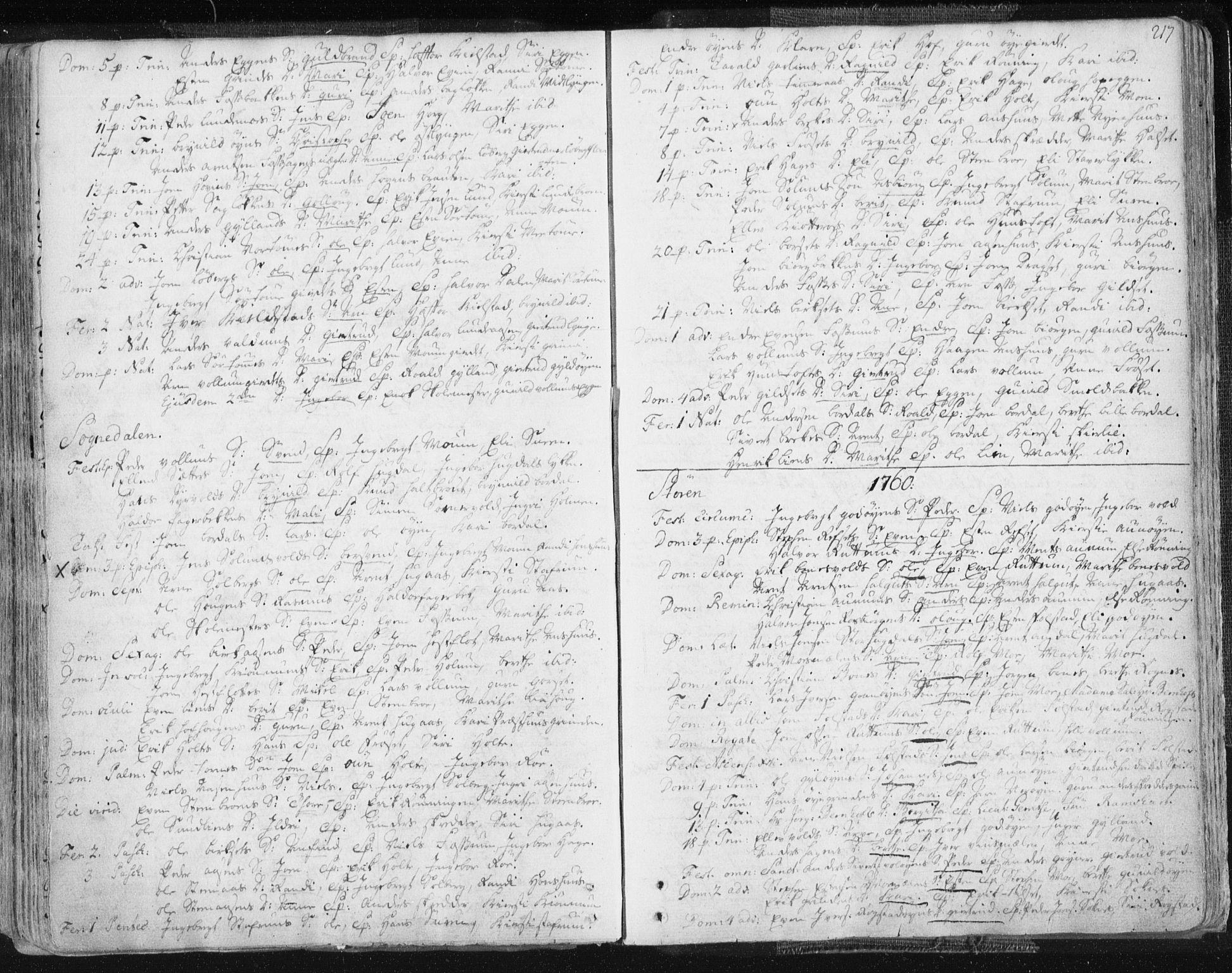 SAT, Ministerialprotokoller, klokkerbøker og fødselsregistre - Sør-Trøndelag, 687/L0991: Ministerialbok nr. 687A02, 1747-1790, s. 217
