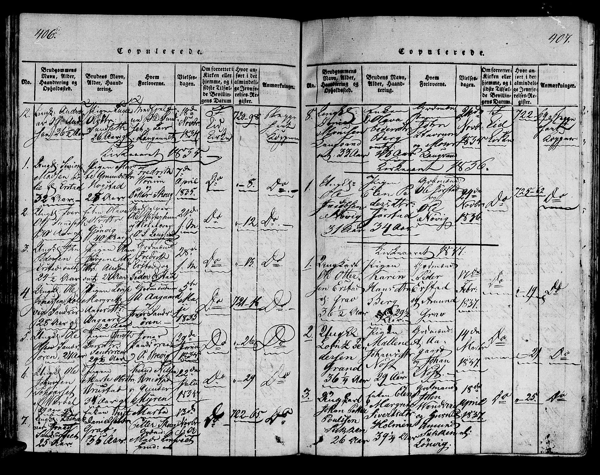 SAT, Ministerialprotokoller, klokkerbøker og fødselsregistre - Nord-Trøndelag, 722/L0217: Ministerialbok nr. 722A04, 1817-1842, s. 406-407