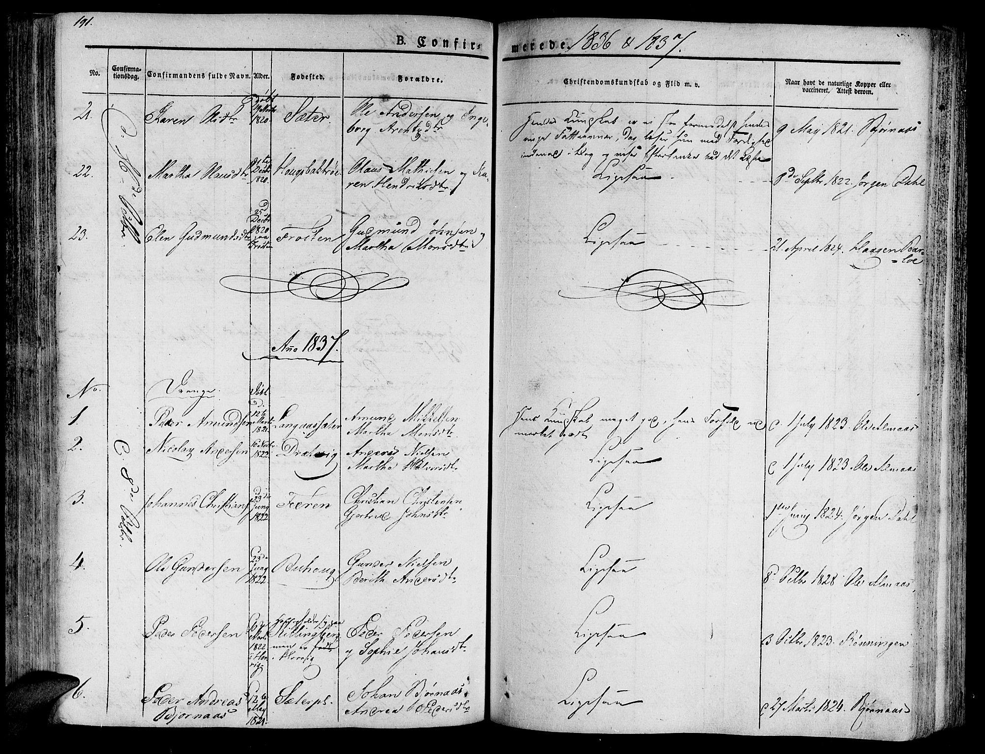 SAT, Ministerialprotokoller, klokkerbøker og fødselsregistre - Nord-Trøndelag, 701/L0006: Ministerialbok nr. 701A06, 1825-1841, s. 191