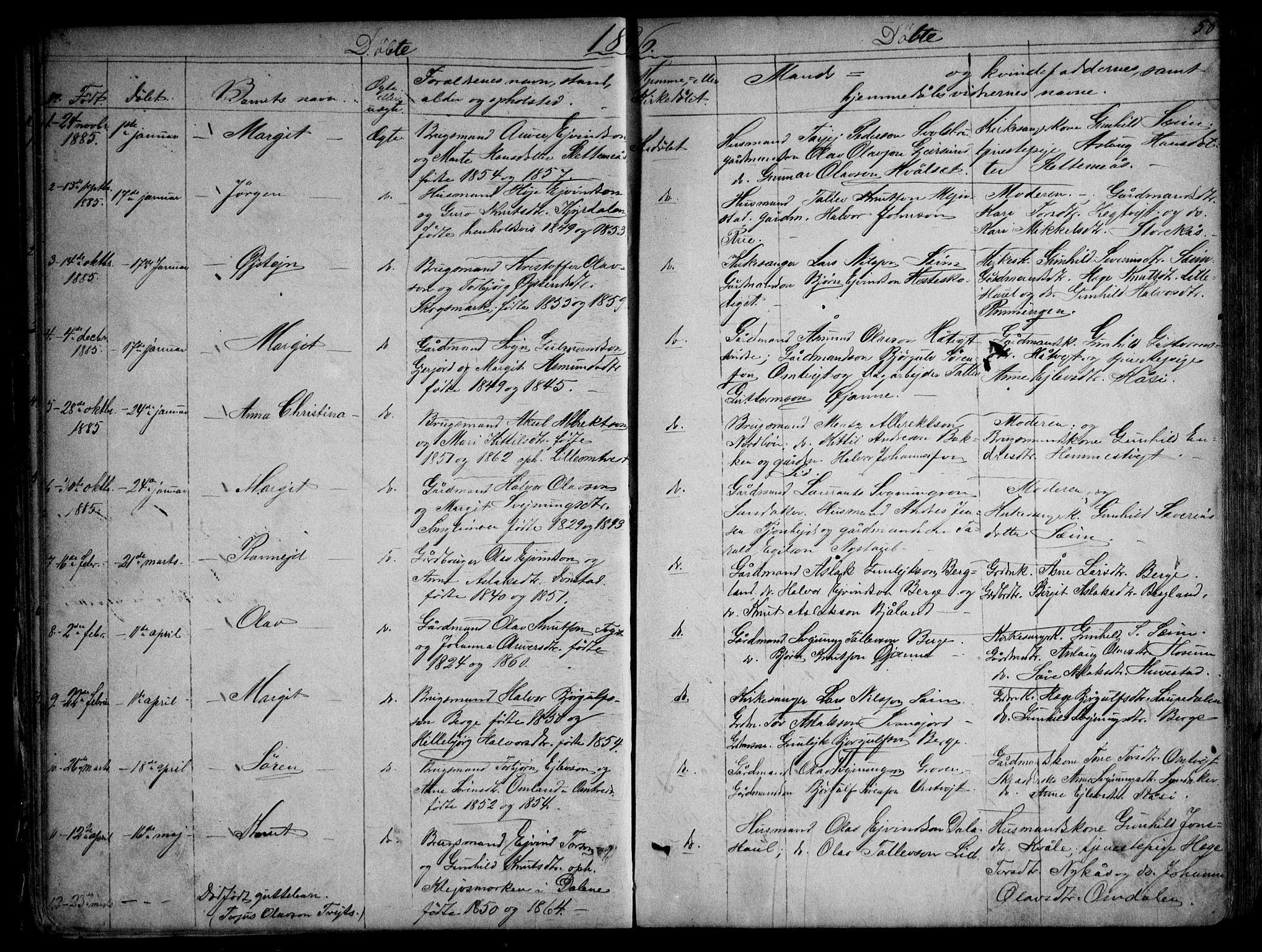 SAKO, Kviteseid kirkebøker, G/Gb/L0002: Klokkerbok nr. II 2, 1850-1892, s. 58