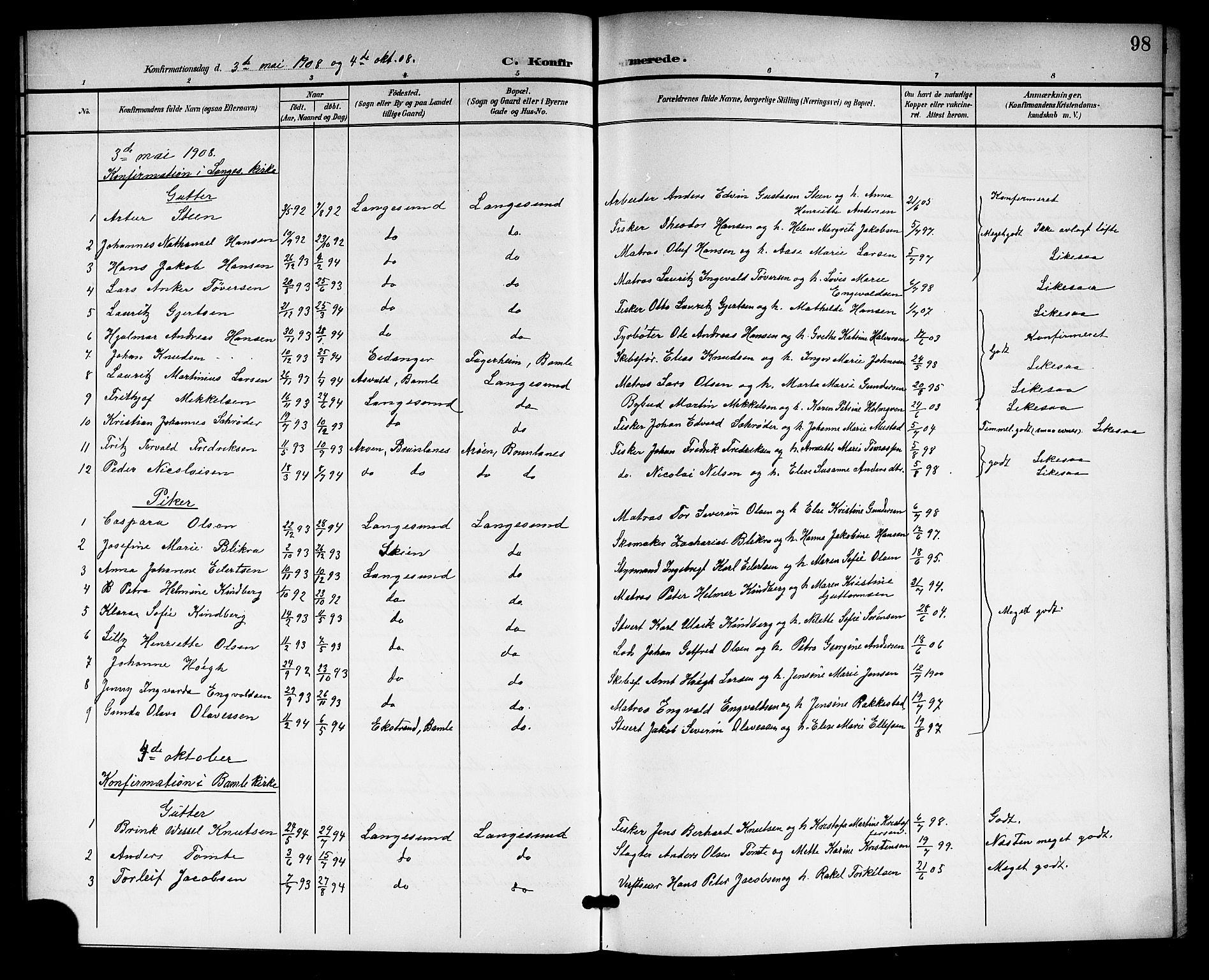 SAKO, Langesund kirkebøker, G/Ga/L0006: Klokkerbok nr. 6, 1899-1918, s. 98