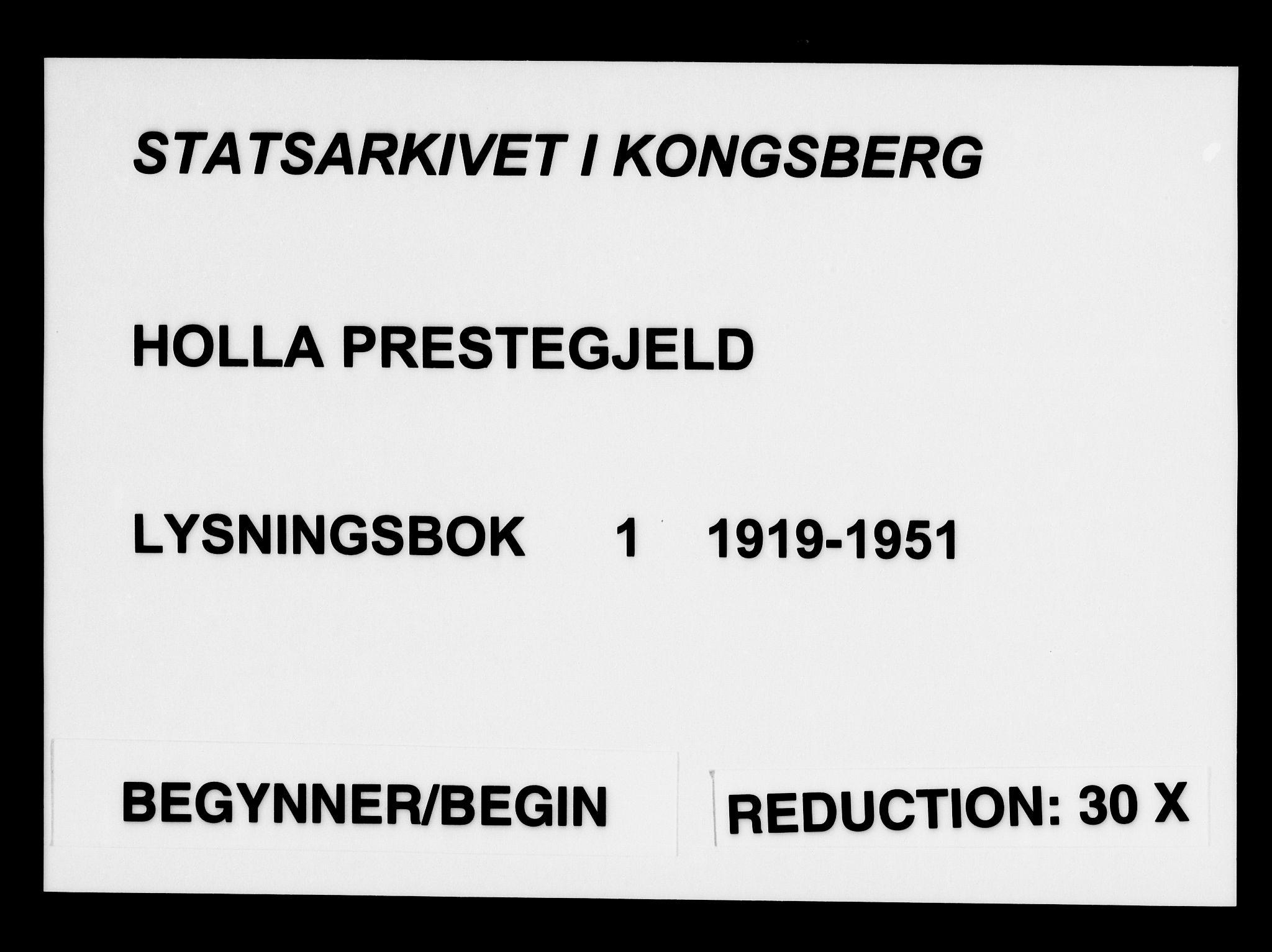 SAKO, Holla kirkebøker, H/Ha/L0001: Lysningsprotokoll nr. 1, 1919-1951