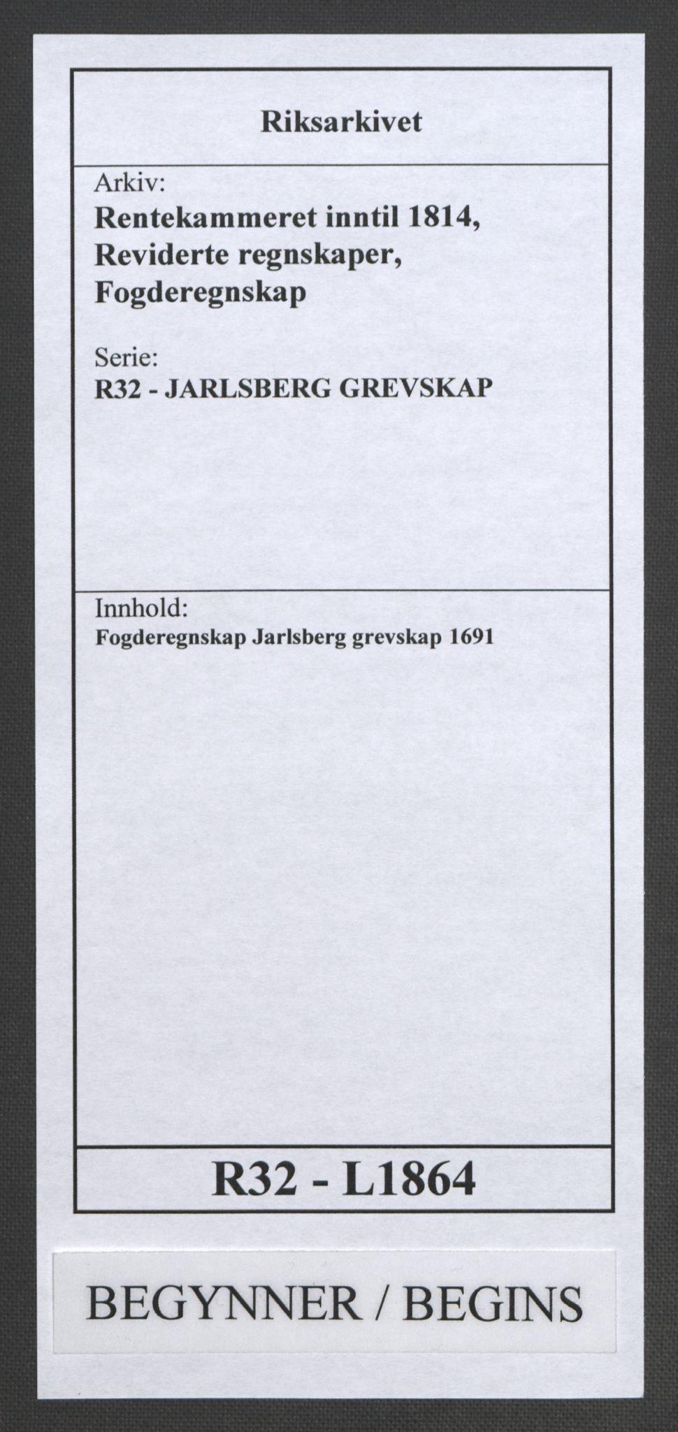 RA, Rentekammeret inntil 1814, Reviderte regnskaper, Fogderegnskap, R32/L1864: Fogderegnskap Jarlsberg grevskap, 1691, s. 1