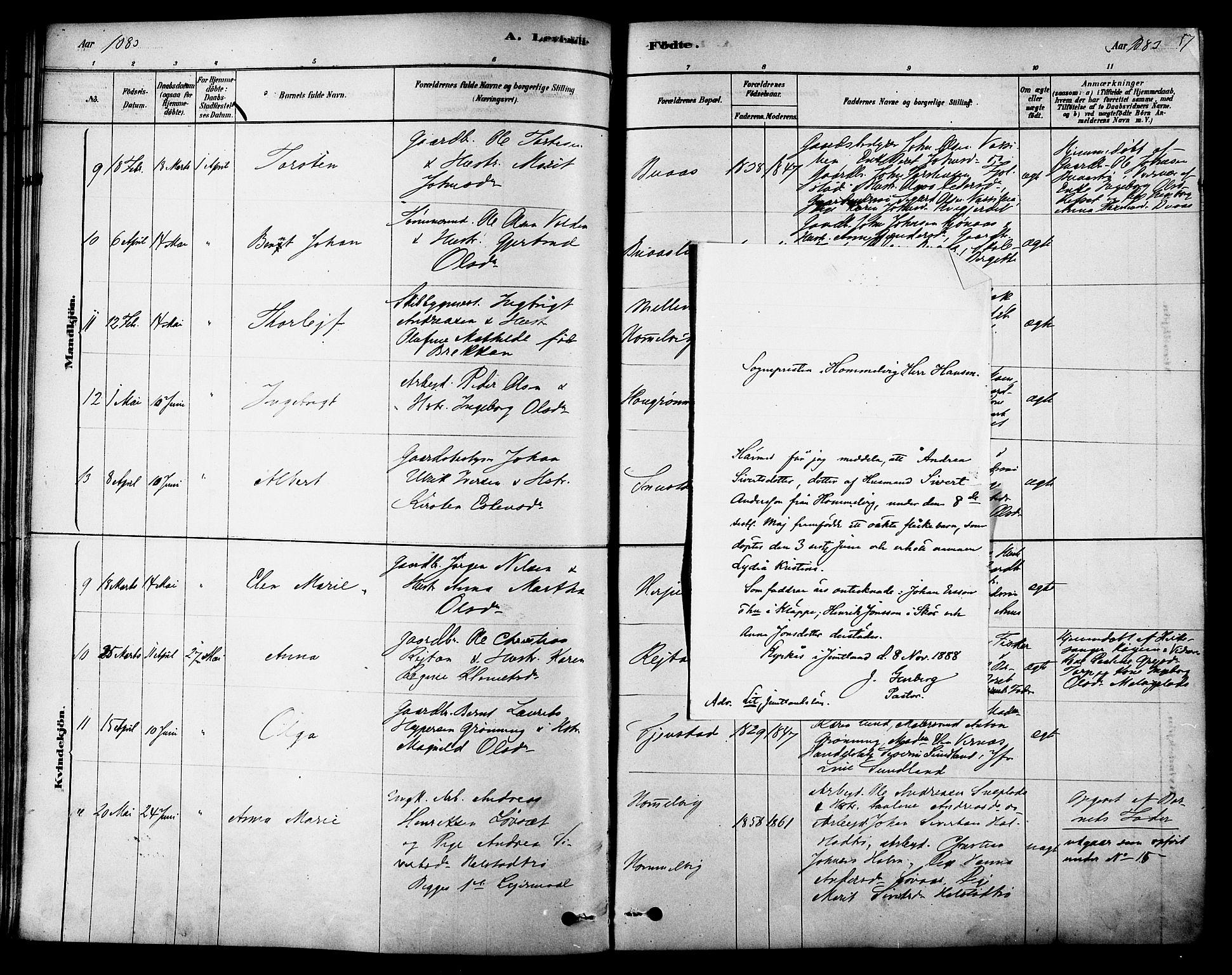 SAT, Ministerialprotokoller, klokkerbøker og fødselsregistre - Sør-Trøndelag, 616/L0410: Ministerialbok nr. 616A07, 1878-1893, s. 57
