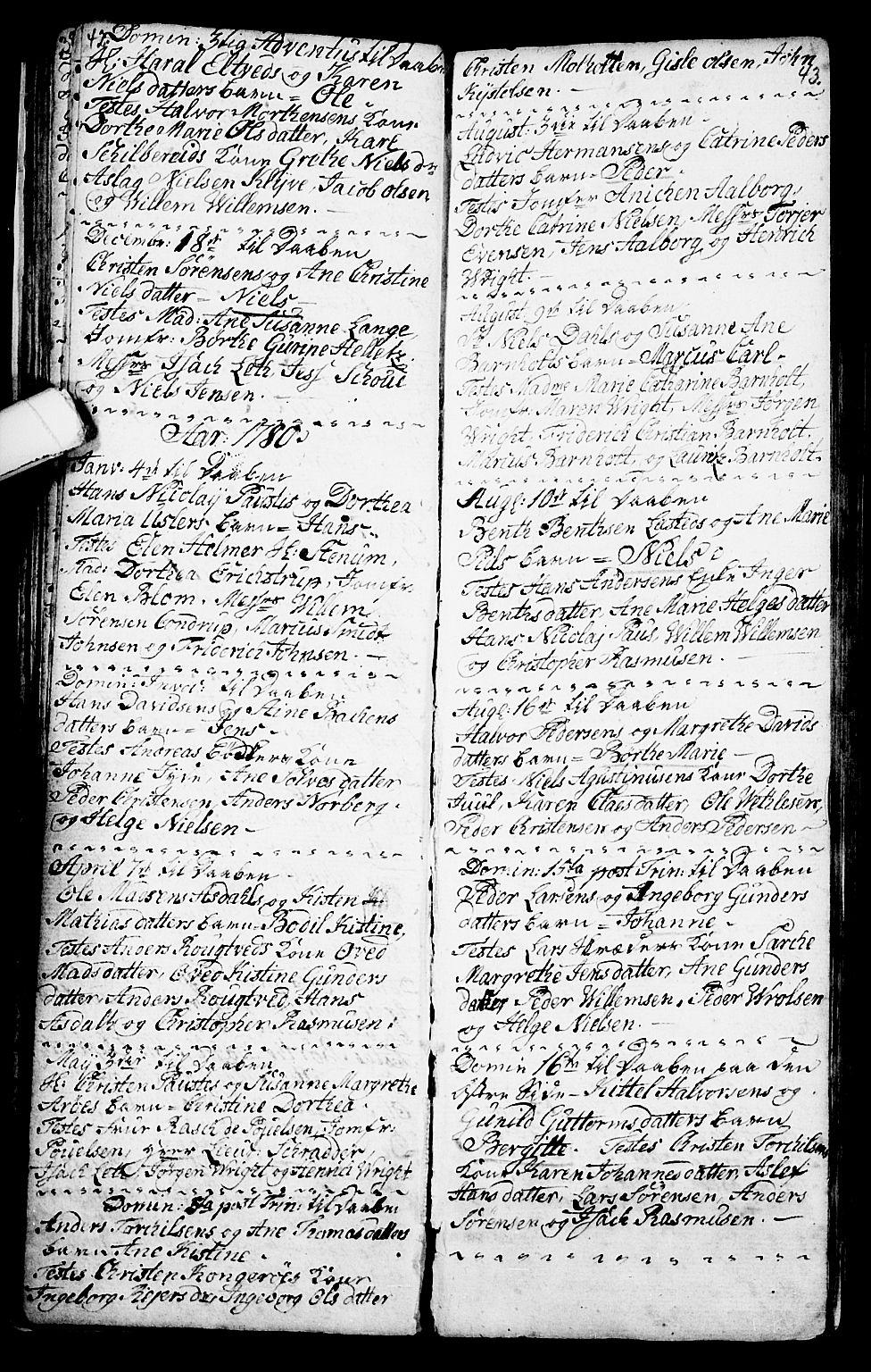 SAKO, Porsgrunn kirkebøker , G/Ga/L0001: Klokkerbok nr. I 1, 1766-1790, s. 42-43