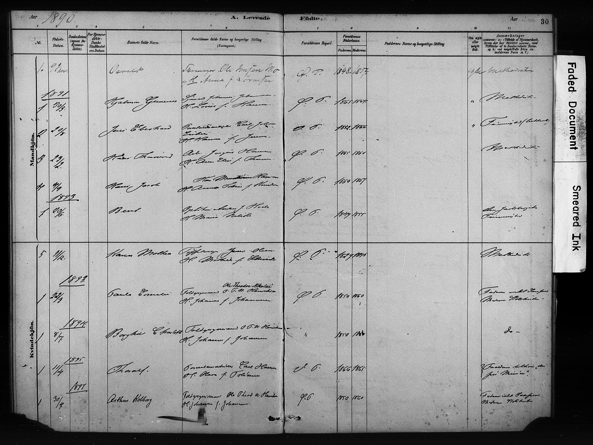 SAKO, Porsgrunn kirkebøker , F/Fa/L0009: Ministerialbok nr. 9, 1878-1923, s. 30