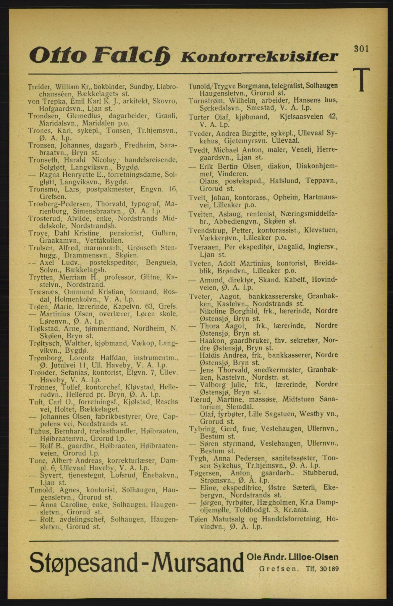 RA, Aker adressebok/adressekalender (publikasjon)*, 1922, s. 301