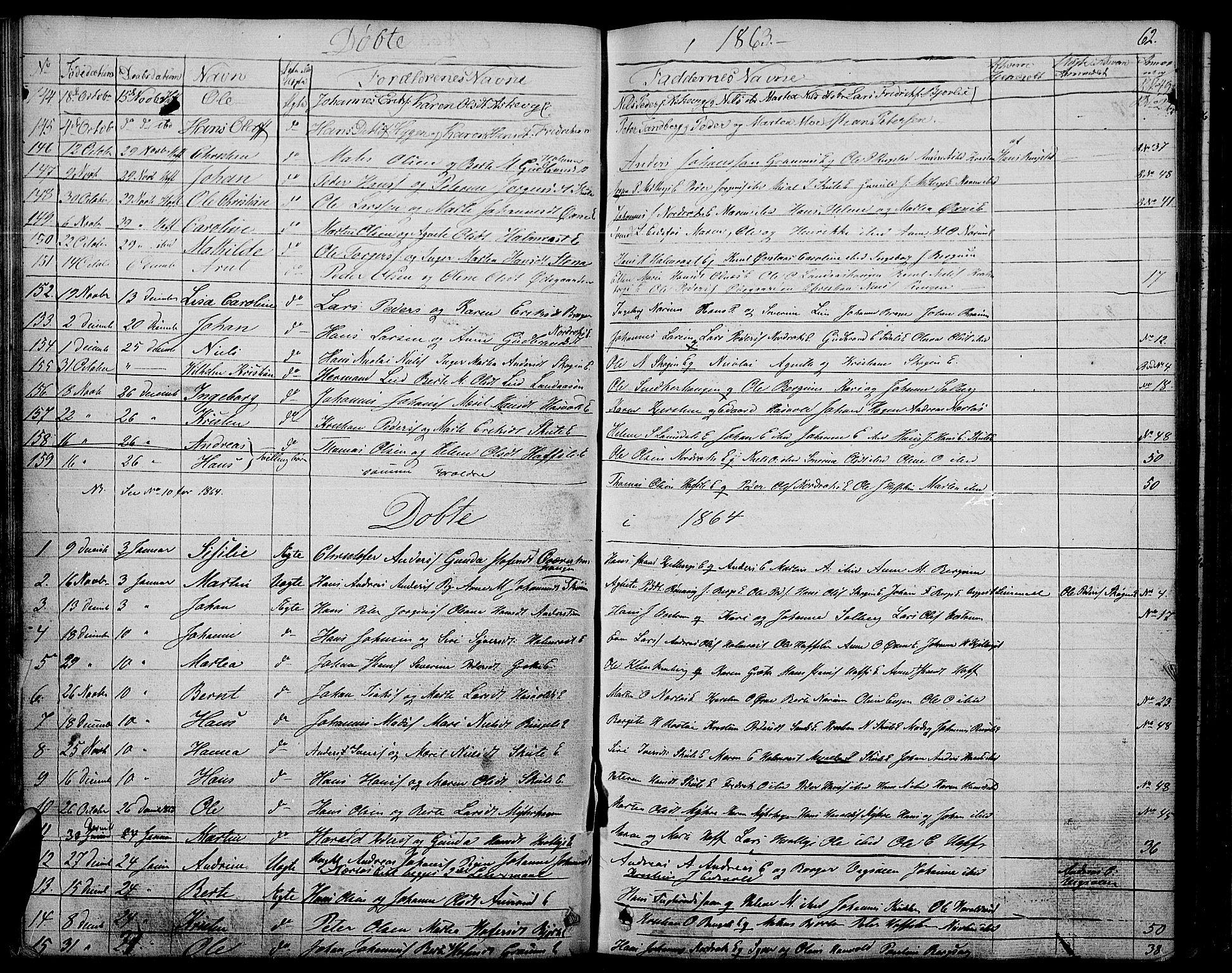 SAH, Søndre Land prestekontor, L/L0001: Klokkerbok nr. 1, 1849-1883, s. 62
