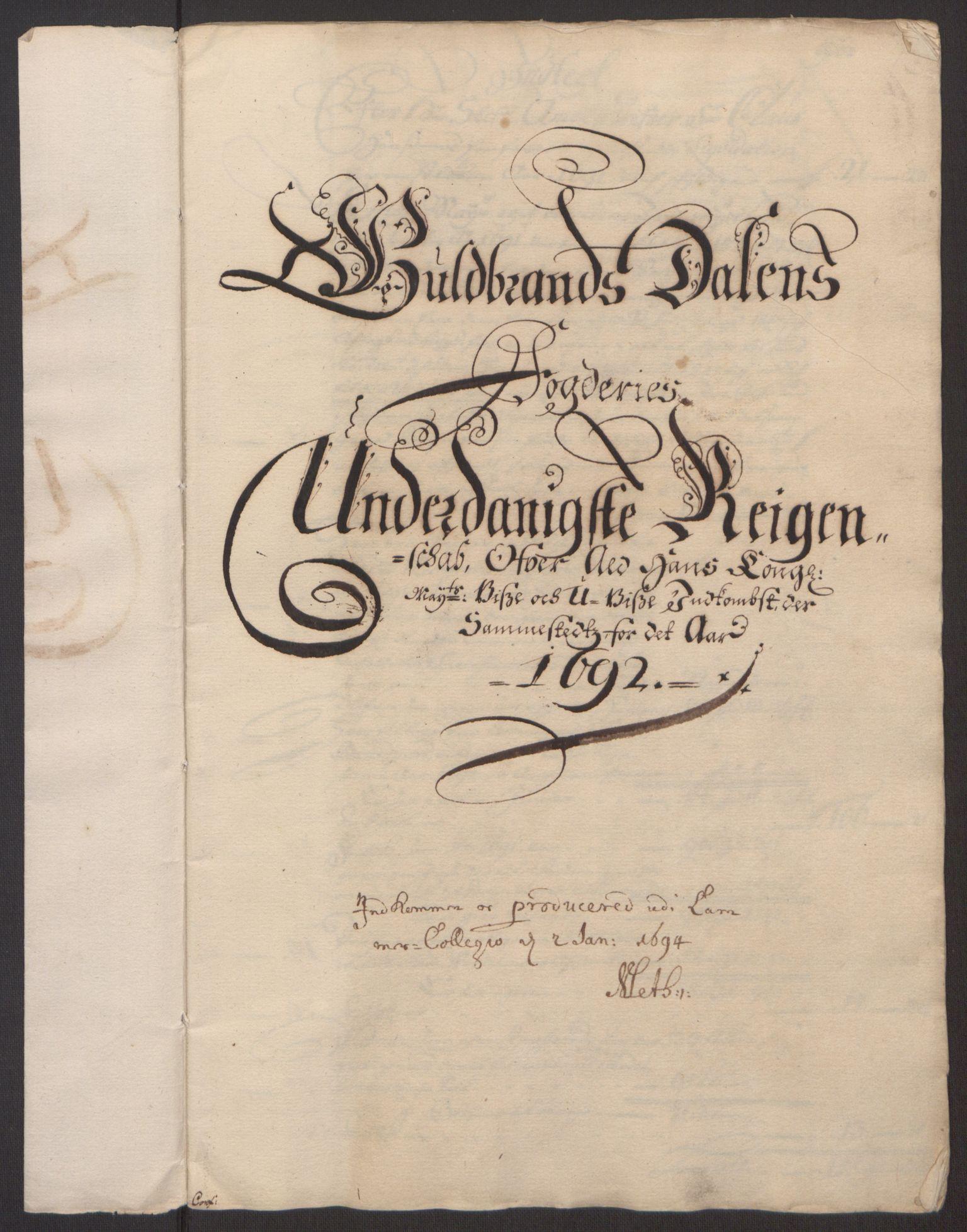 RA, Rentekammeret inntil 1814, Reviderte regnskaper, Fogderegnskap, R17/L1166: Fogderegnskap Gudbrandsdal, 1690-1692, s. 3
