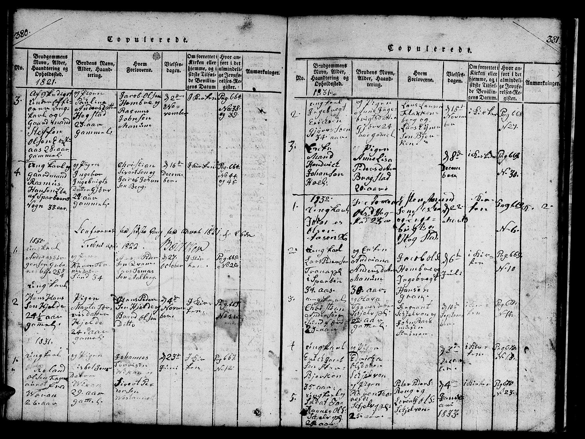 SAT, Ministerialprotokoller, klokkerbøker og fødselsregistre - Nord-Trøndelag, 732/L0317: Klokkerbok nr. 732C01, 1816-1881, s. 380-381