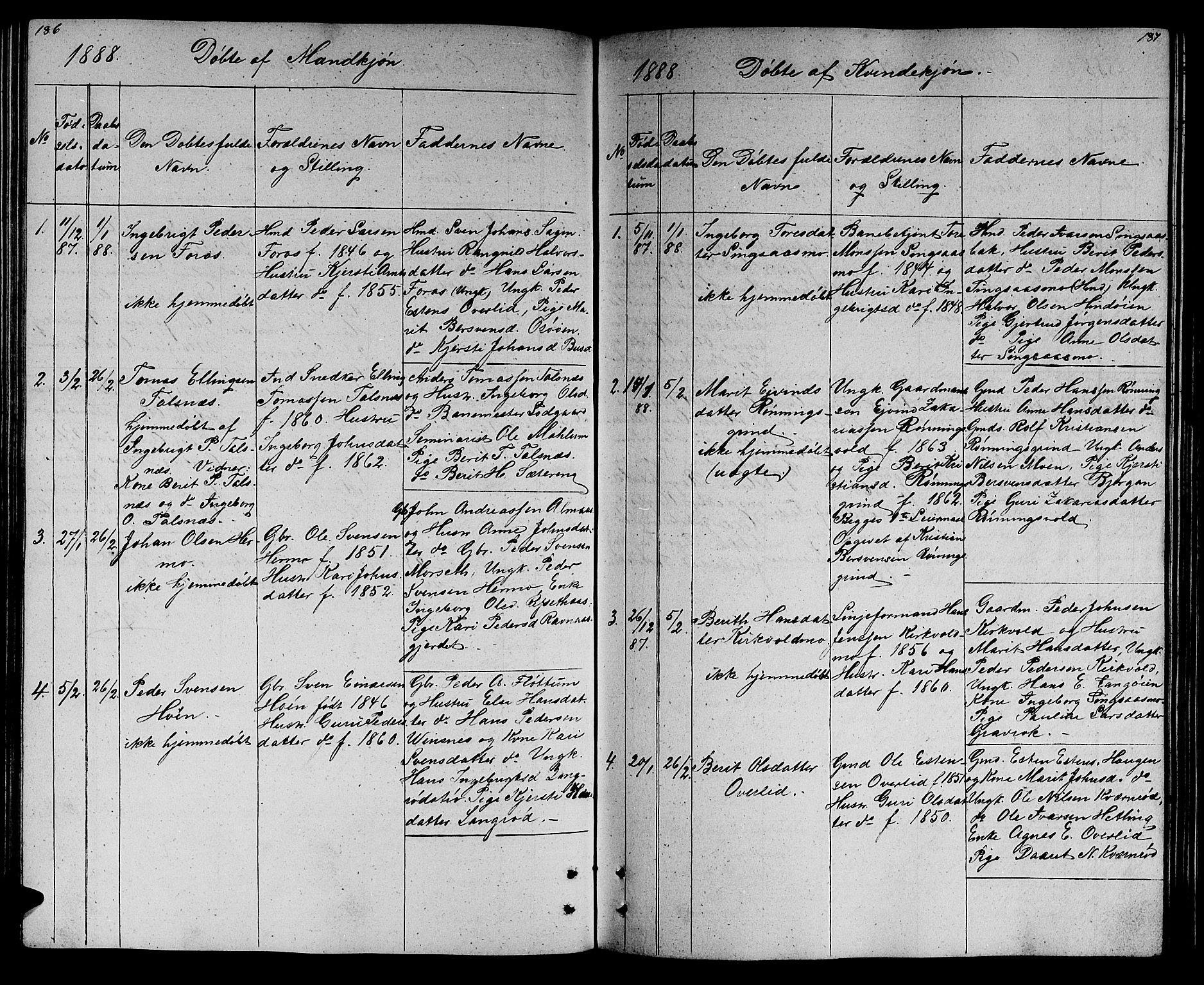 SAT, Ministerialprotokoller, klokkerbøker og fødselsregistre - Sør-Trøndelag, 688/L1027: Klokkerbok nr. 688C02, 1861-1889, s. 186-187