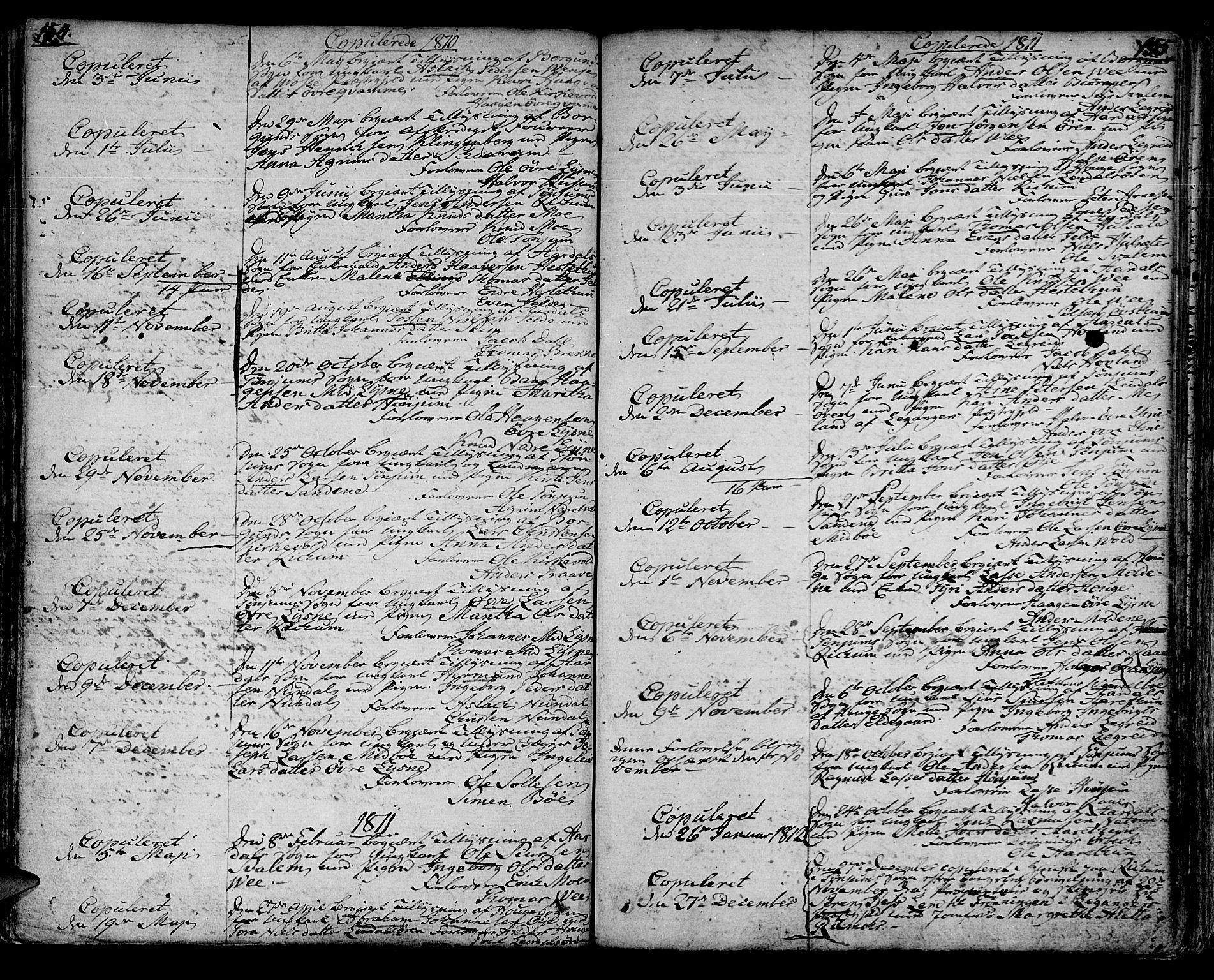 SAB, Lærdal sokneprestembete, Ministerialbok nr. A 4, 1805-1821, s. 154-155