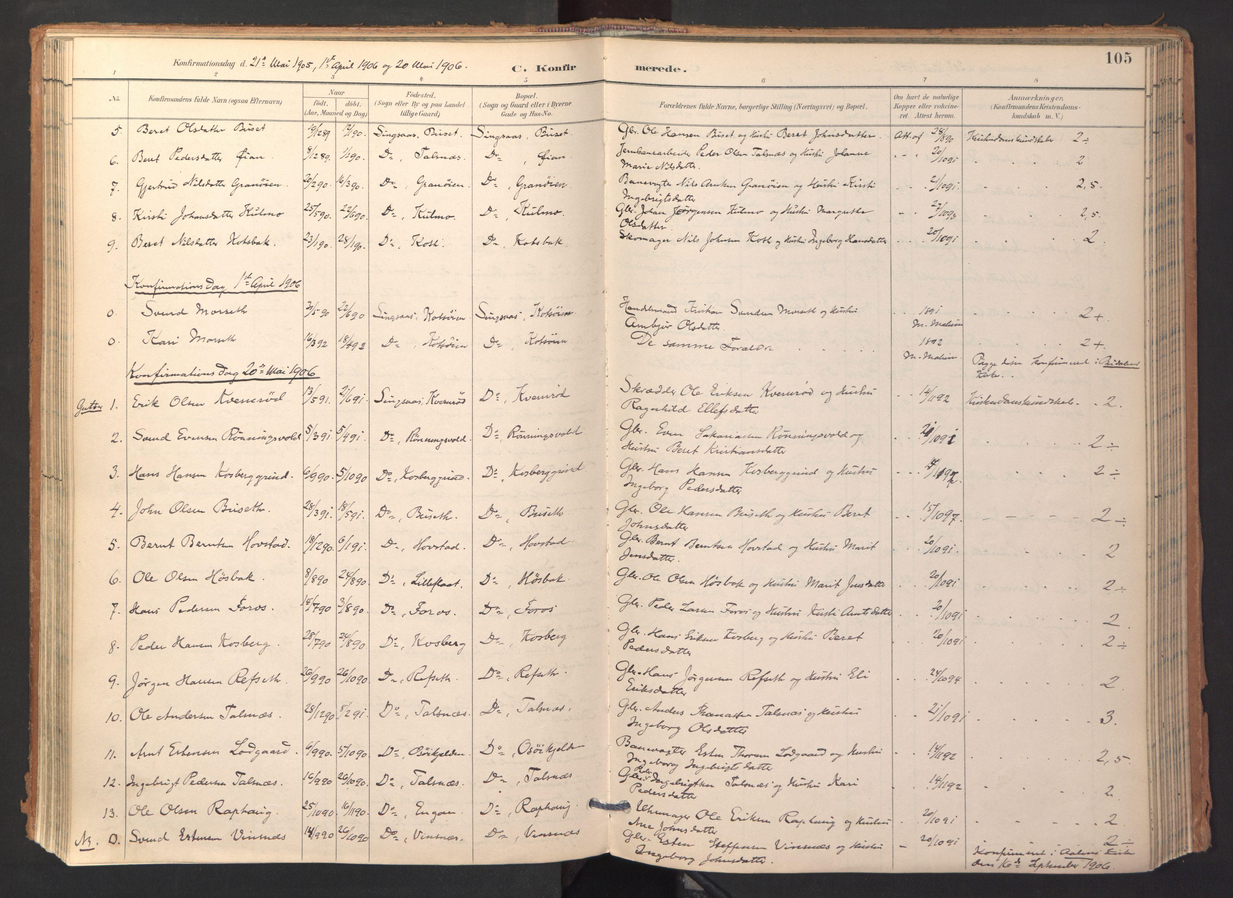 SAT, Ministerialprotokoller, klokkerbøker og fødselsregistre - Sør-Trøndelag, 688/L1025: Ministerialbok nr. 688A02, 1891-1909, s. 105