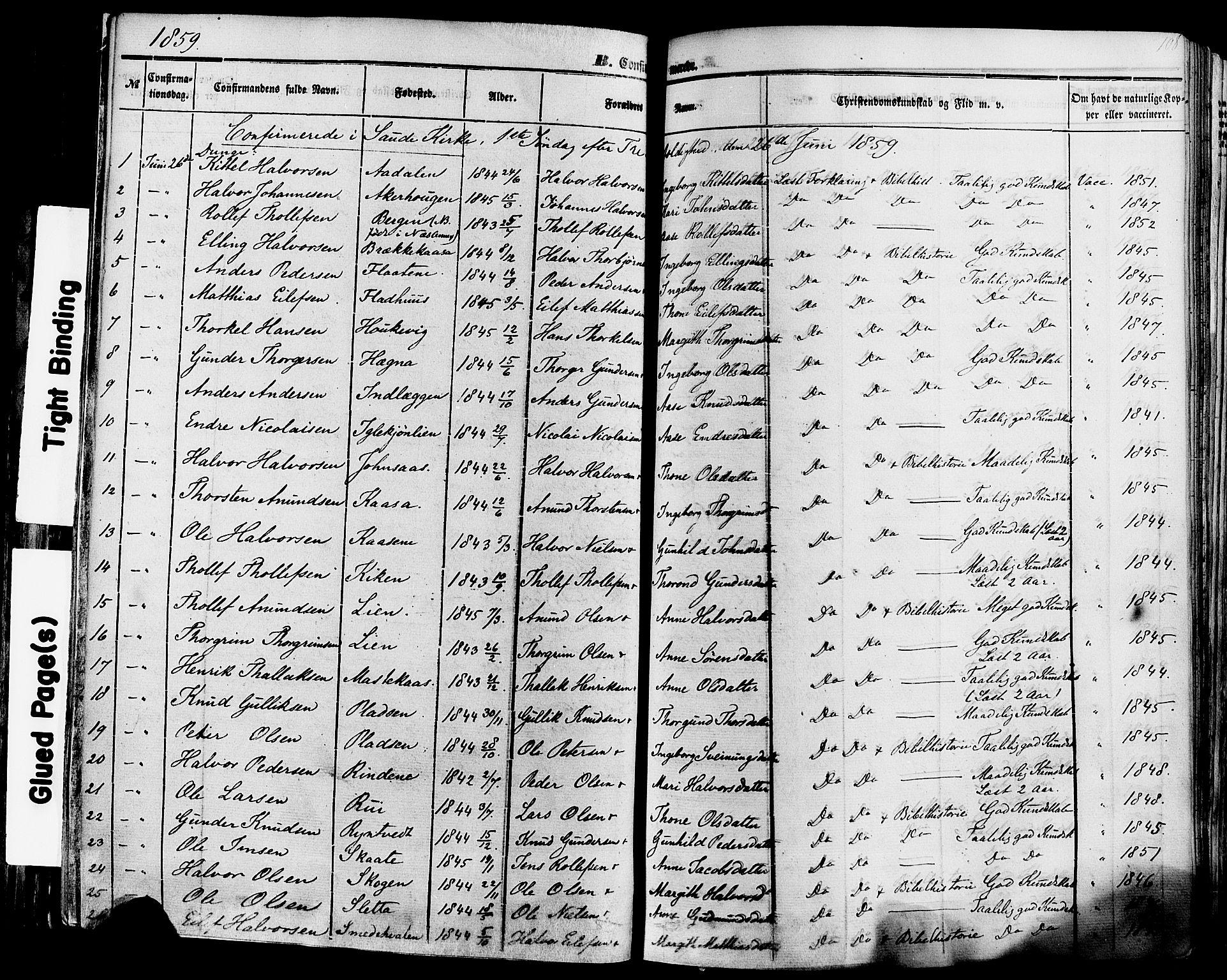 SAKO, Sauherad kirkebøker, F/Fa/L0007: Ministerialbok nr. I 7, 1851-1873, s. 108
