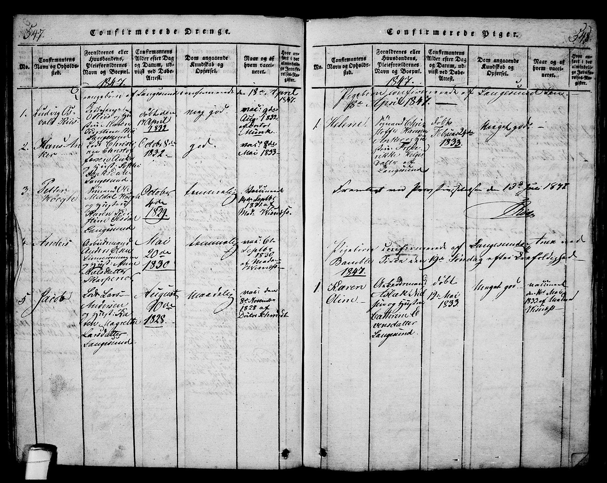 SAKO, Langesund kirkebøker, G/Ga/L0003: Klokkerbok nr. 3, 1815-1858, s. 547-548