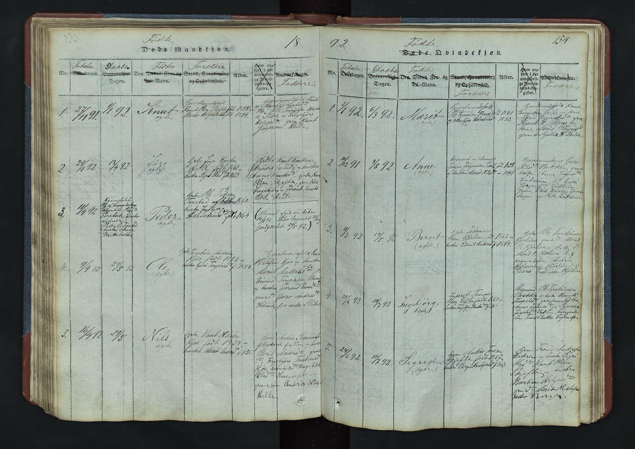 SAH, Vang prestekontor, Valdres, Klokkerbok nr. 3, 1814-1892, s. 154