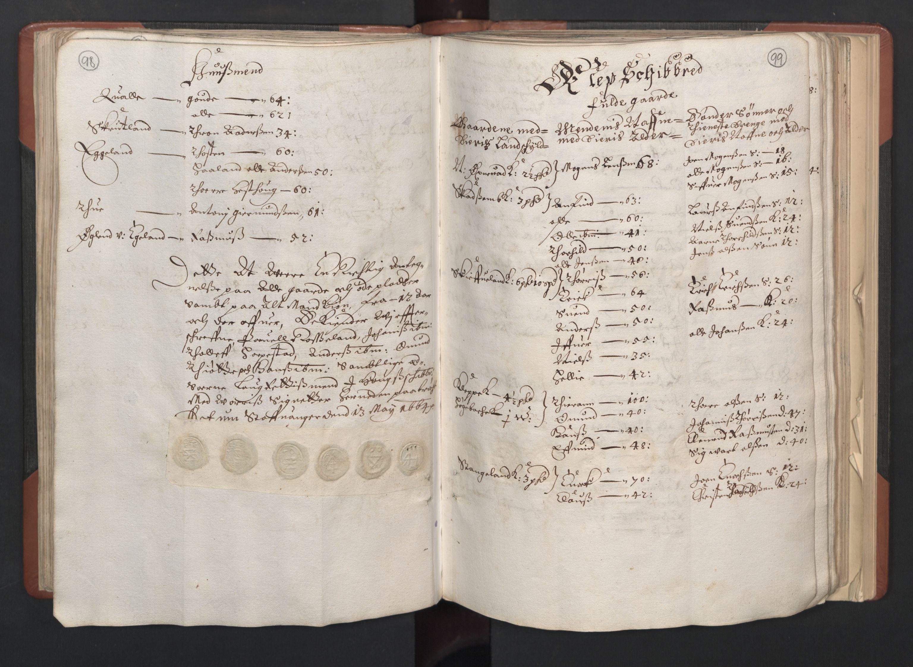 RA, Fogdenes og sorenskrivernes manntall 1664-1666, nr. 11: Jæren og Dalane fogderi, 1664, s. 98-99