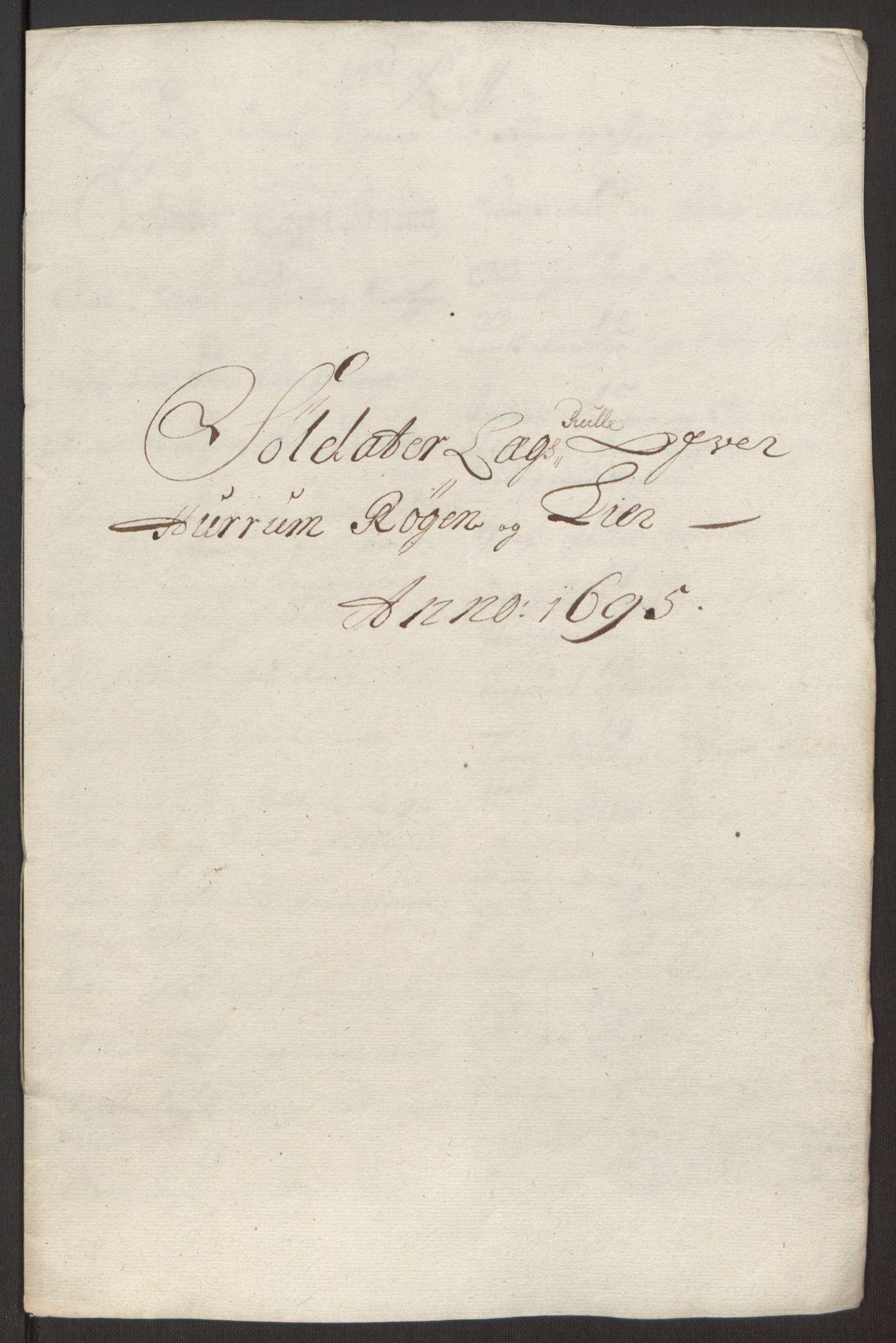 RA, Rentekammeret inntil 1814, Reviderte regnskaper, Fogderegnskap, R30/L1694: Fogderegnskap Hurum, Røyken, Eiker og Lier, 1694-1696, s. 273