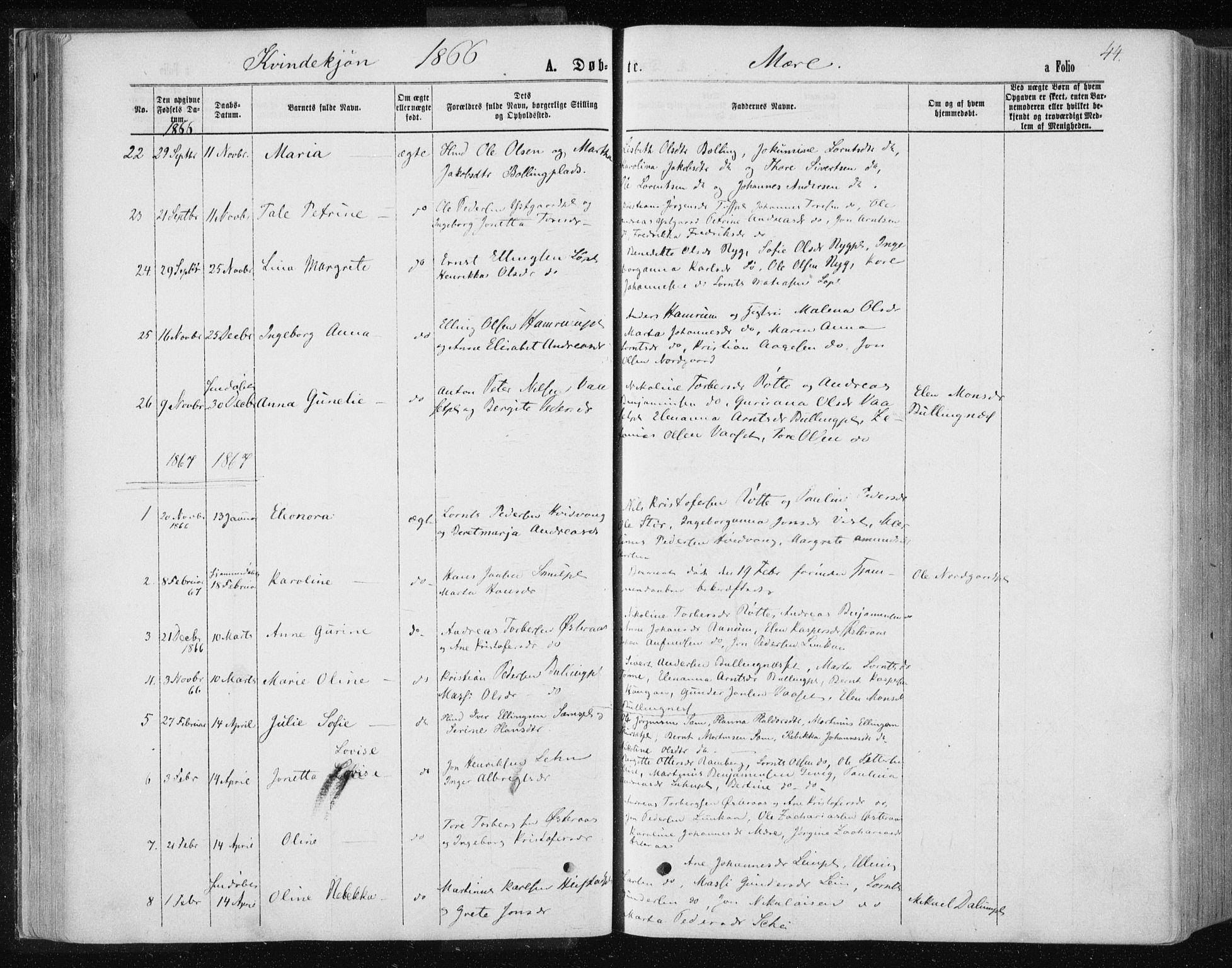 SAT, Ministerialprotokoller, klokkerbøker og fødselsregistre - Nord-Trøndelag, 735/L0345: Ministerialbok nr. 735A08 /1, 1863-1872, s. 44