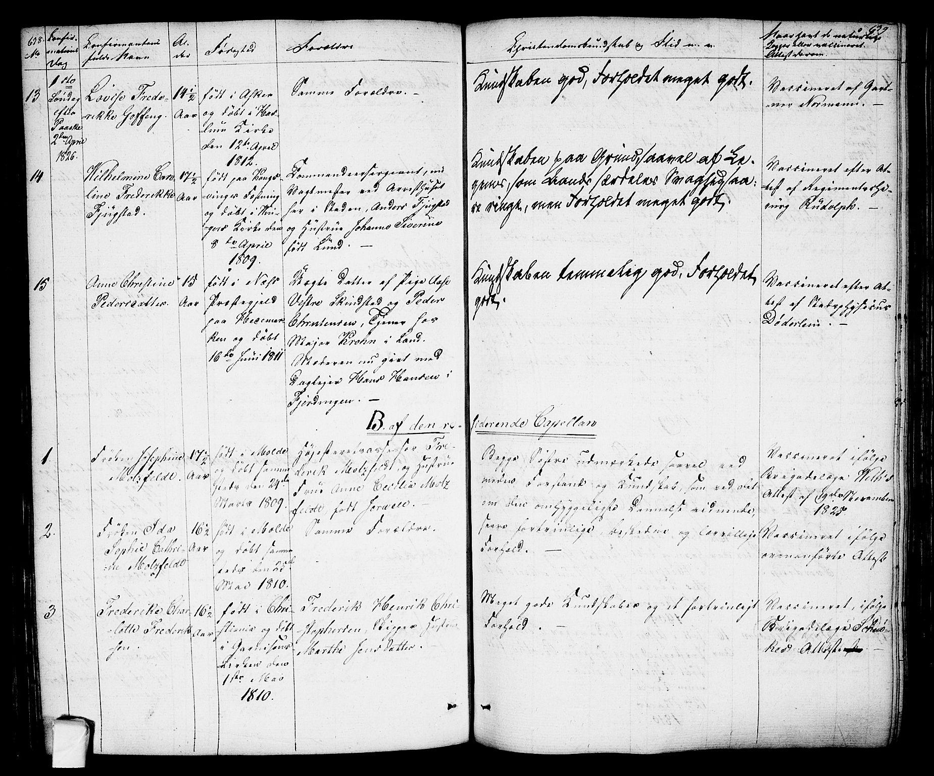 SAO, Oslo domkirke Kirkebøker, F/Fa/L0010: Ministerialbok nr. 10, 1824-1830, s. 638-639