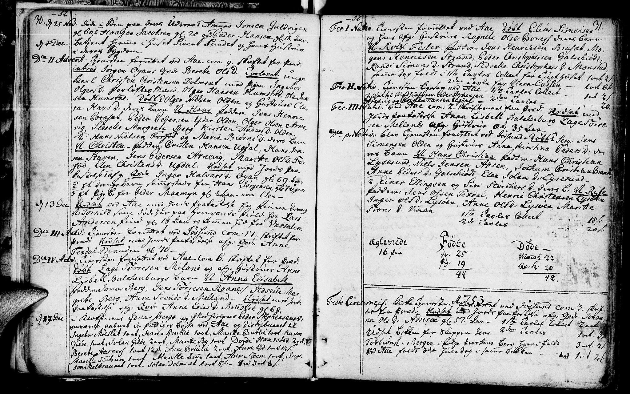 SAT, Ministerialprotokoller, klokkerbøker og fødselsregistre - Sør-Trøndelag, 655/L0672: Ministerialbok nr. 655A01, 1750-1779, s. 30-31