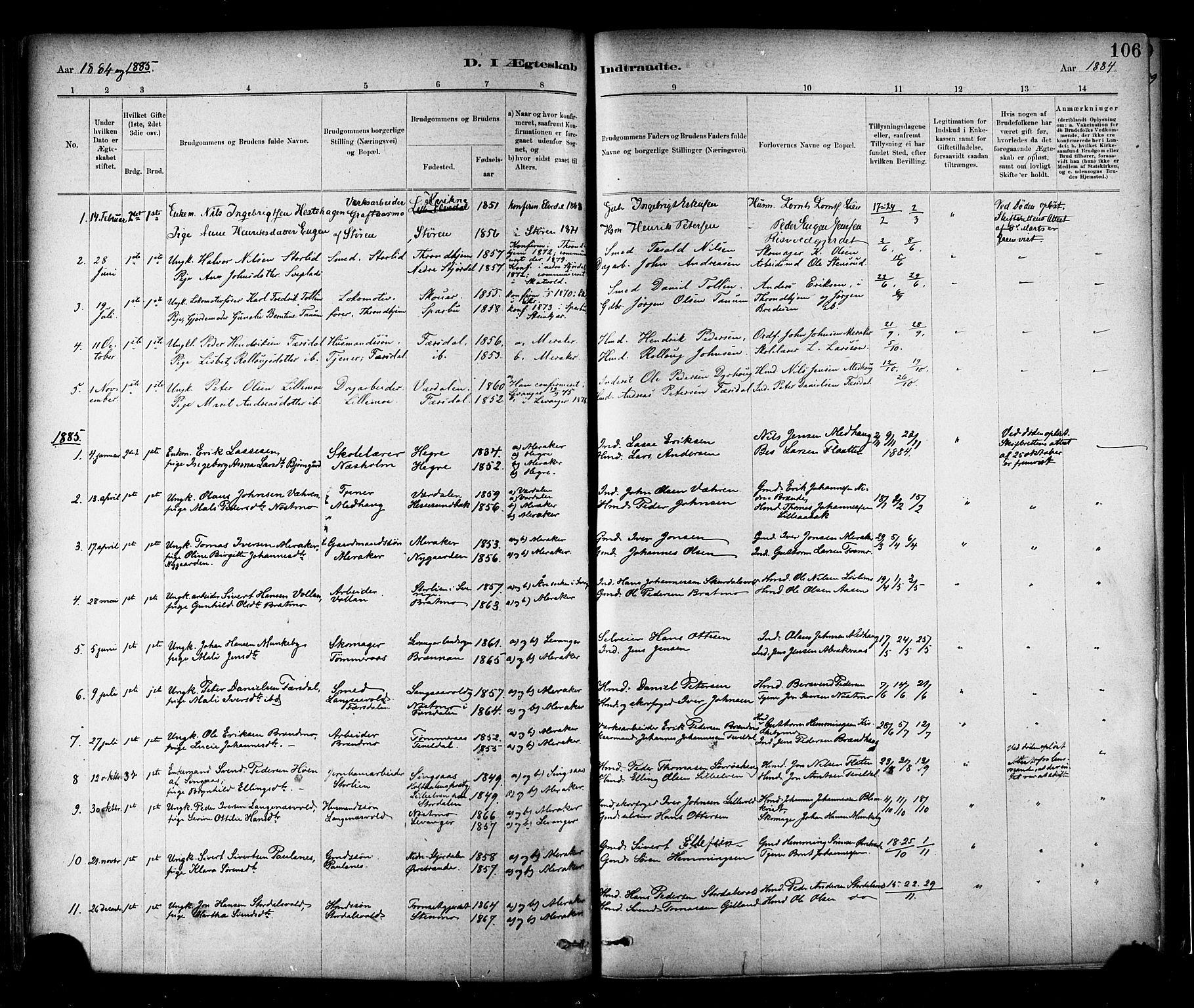 SAT, Ministerialprotokoller, klokkerbøker og fødselsregistre - Nord-Trøndelag, 706/L0047: Ministerialbok nr. 706A03, 1878-1892, s. 106