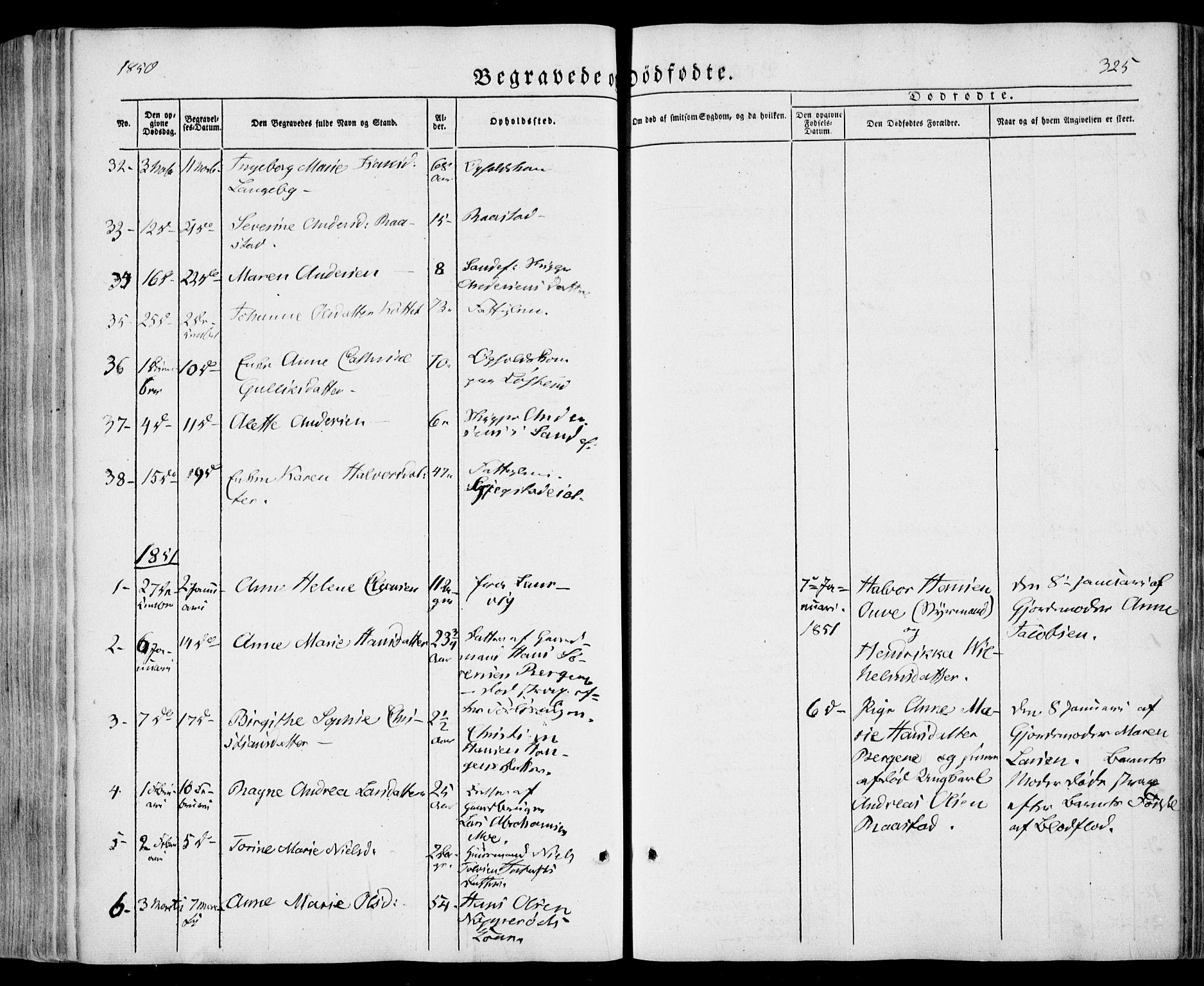 SAKO, Sandar kirkebøker, F/Fa/L0006: Ministerialbok nr. 6, 1847-1860, s. 325