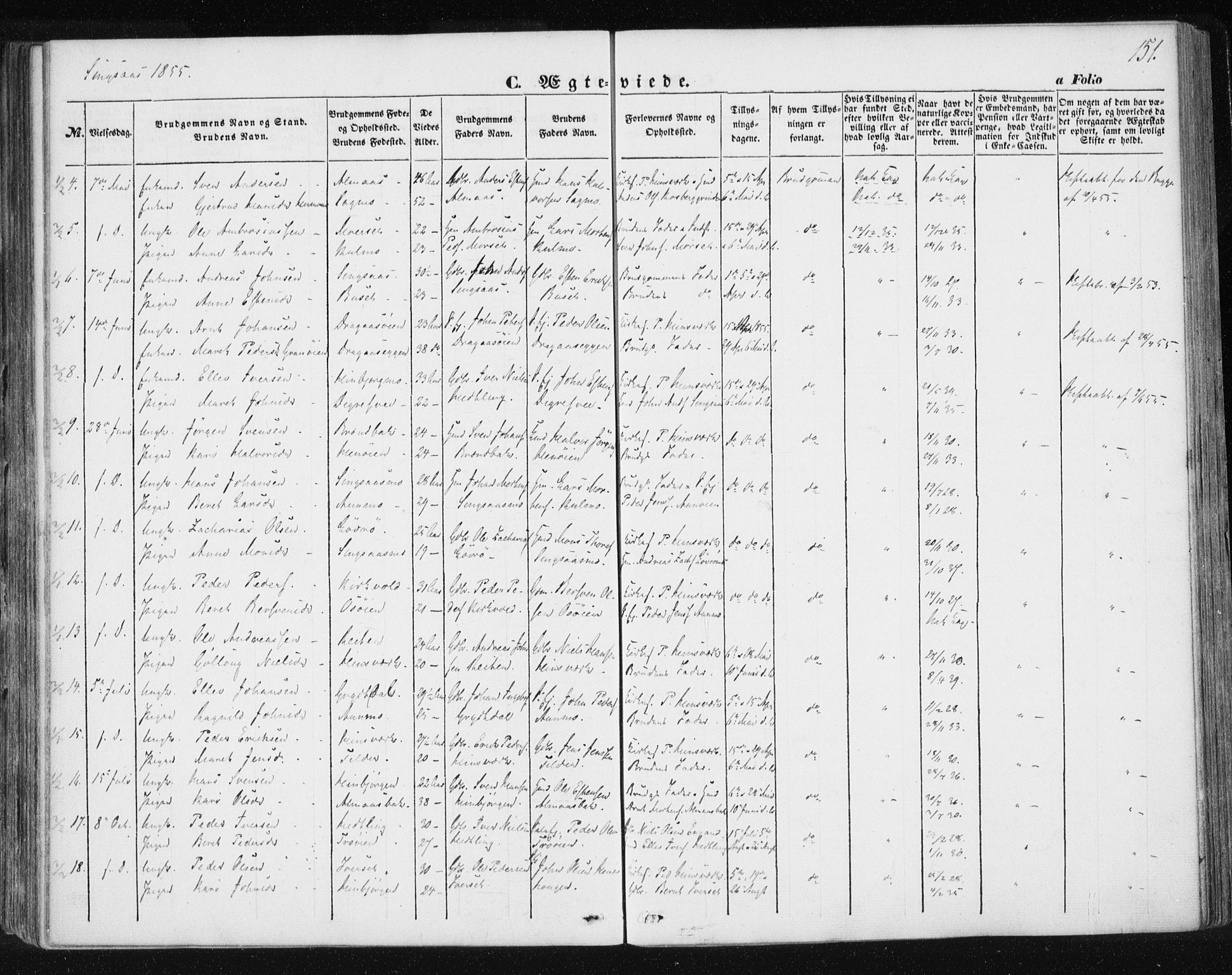 SAT, Ministerialprotokoller, klokkerbøker og fødselsregistre - Sør-Trøndelag, 685/L0964: Ministerialbok nr. 685A06 /2, 1846-1859, s. 151