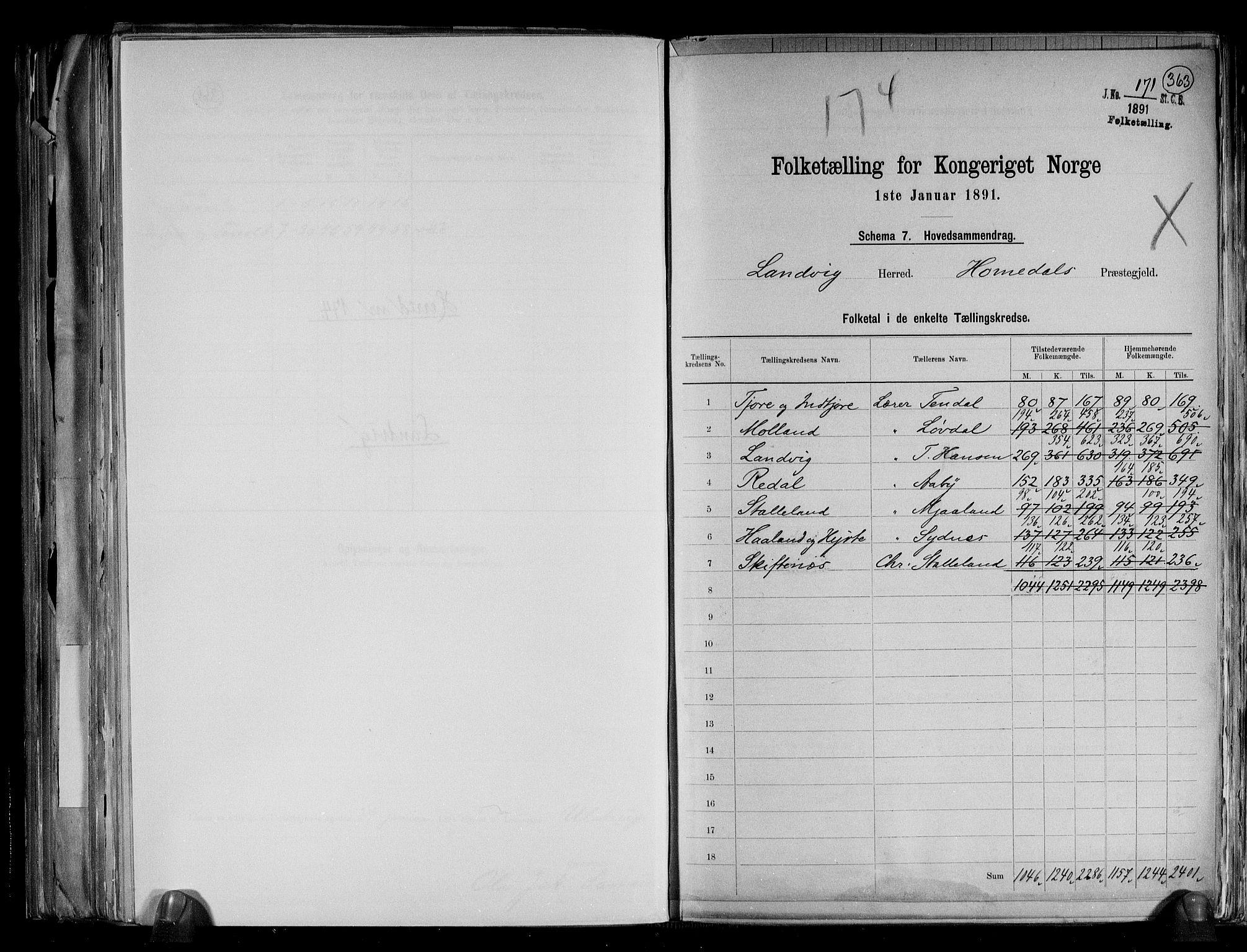 RA, Folketelling 1891 for 0924 Landvik herred, 1891, s. 2