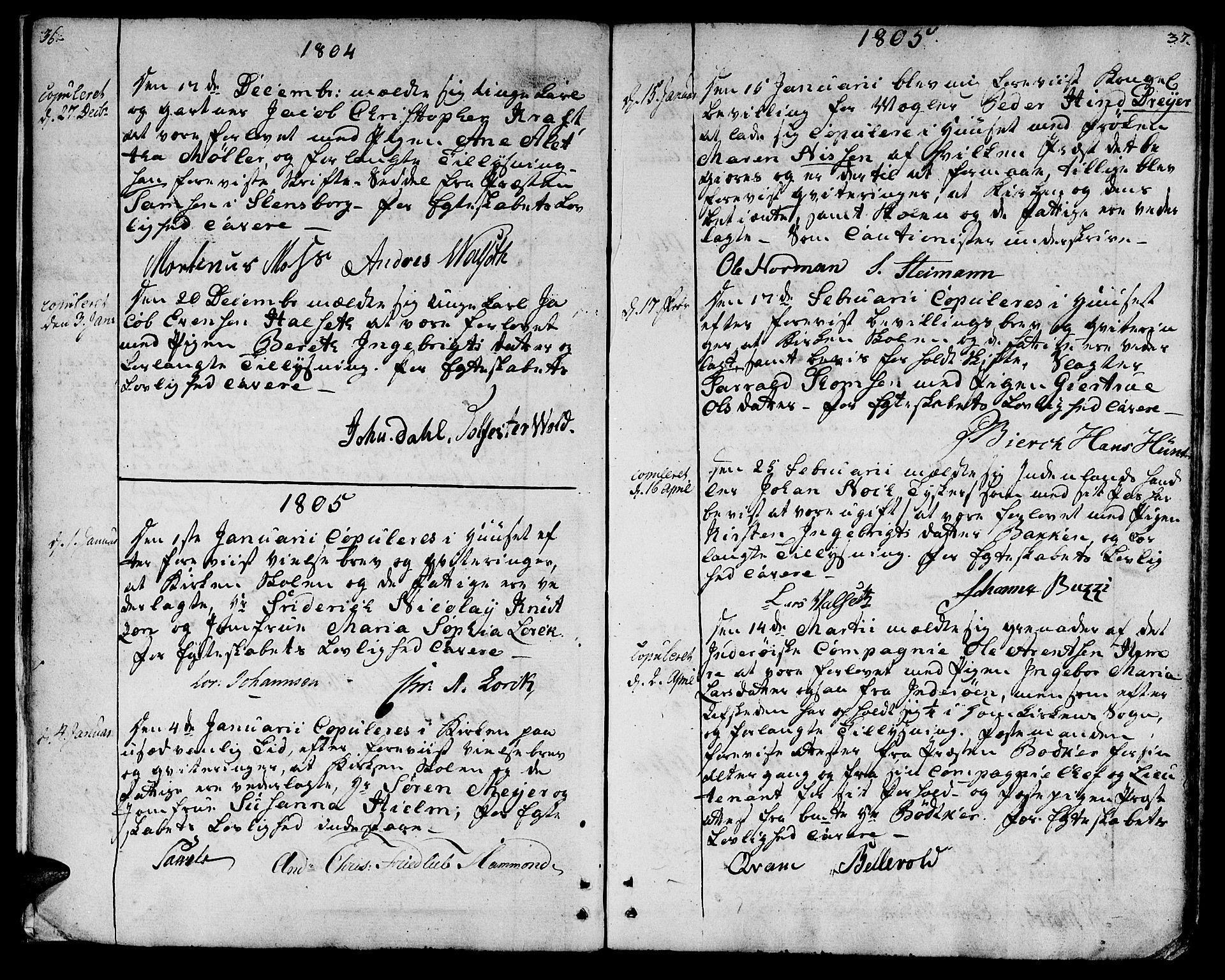 SAT, Ministerialprotokoller, klokkerbøker og fødselsregistre - Sør-Trøndelag, 601/L0042: Ministerialbok nr. 601A10, 1802-1830, s. 36-37