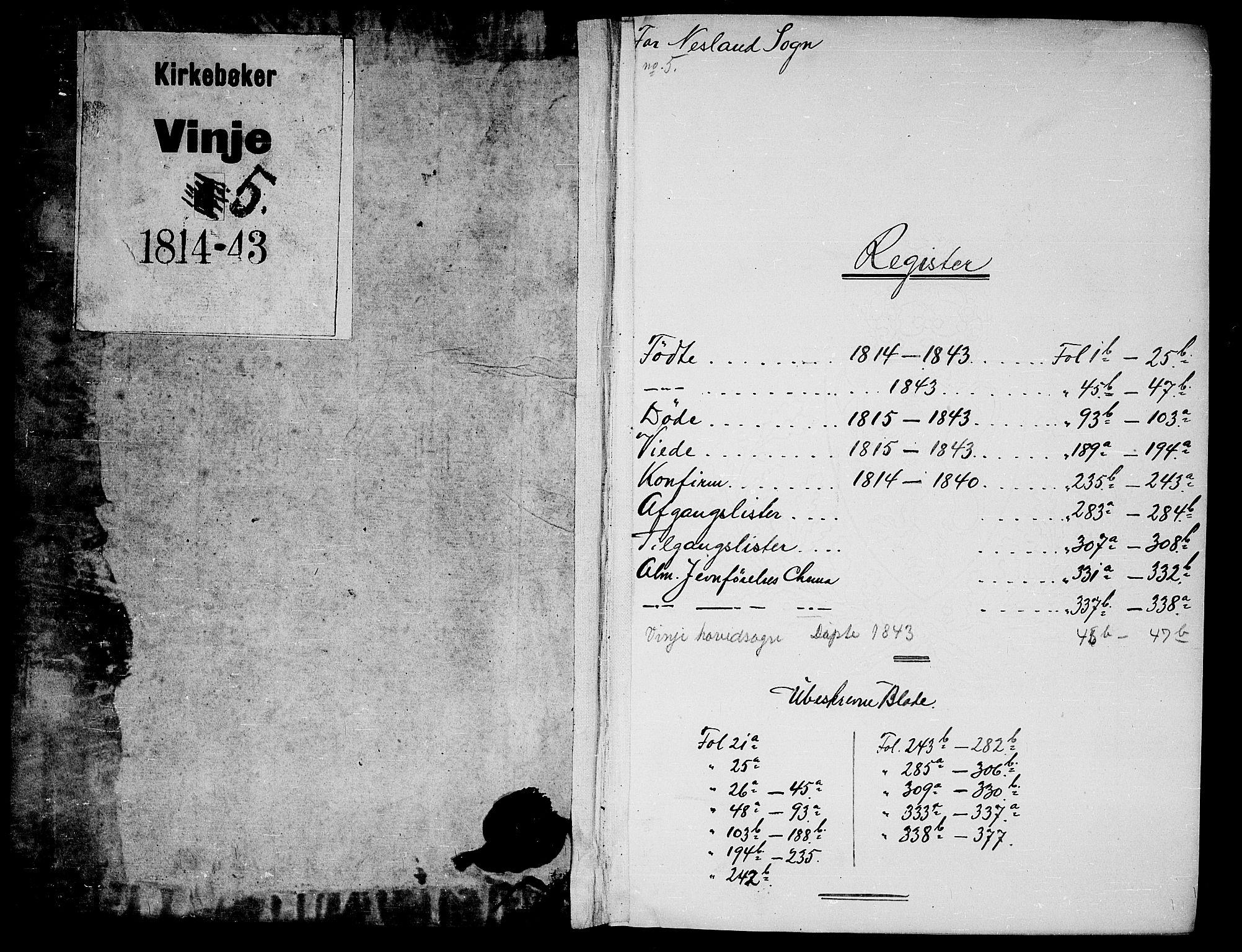 SAKO, Vinje kirkebøker, G/Gb/L0001: Klokkerbok nr. II 1, 1814-1843
