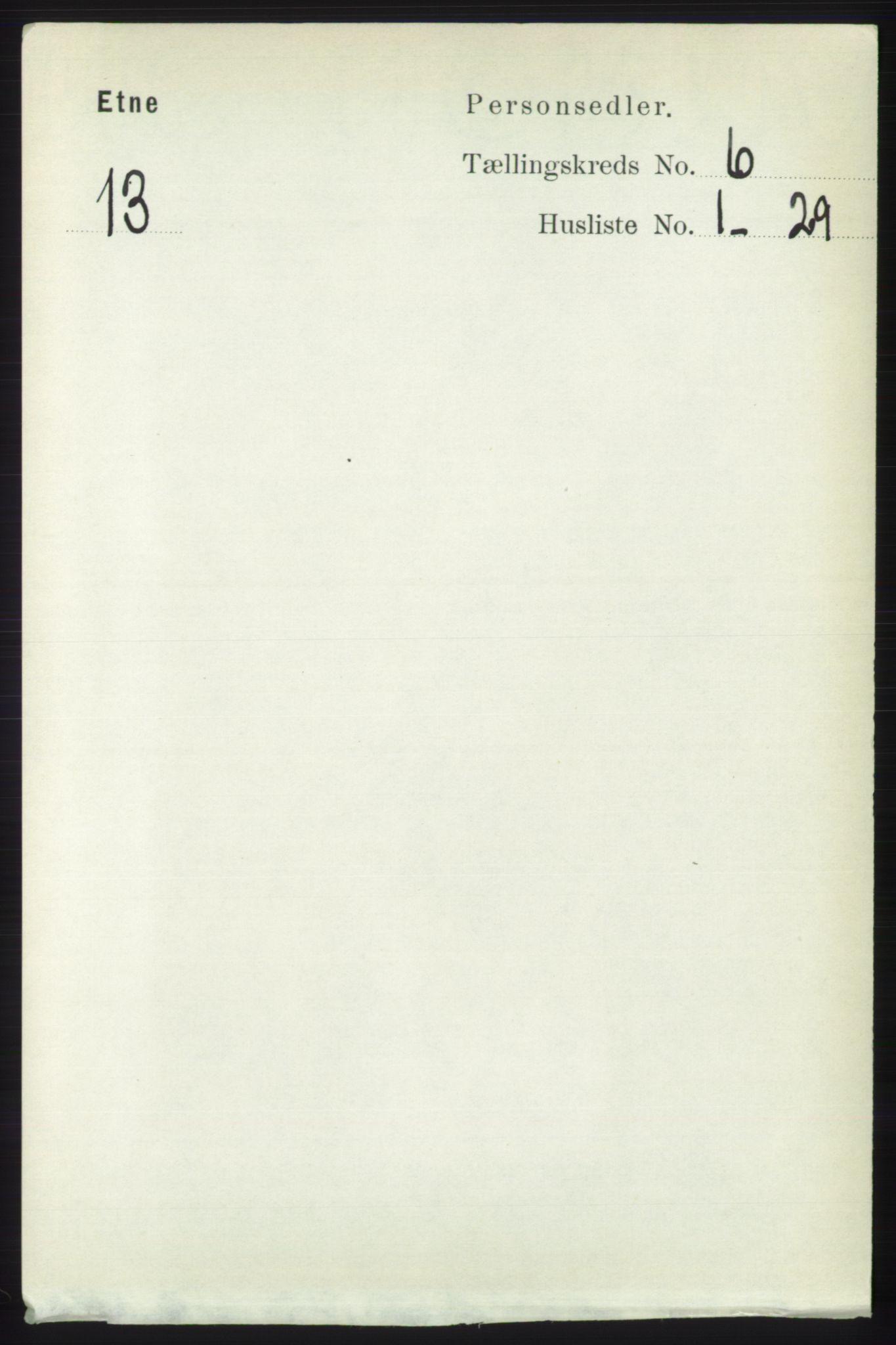 RA, Folketelling 1891 for 1211 Etne herred, 1891, s. 1211