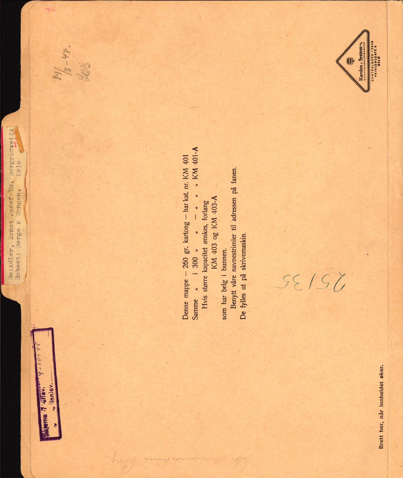 RA, Justisdepartementet, Tilbakeføringskontoret for inndratte formuer, H/Hc/Hcc/L0917: --, 1945-1947, s. 1