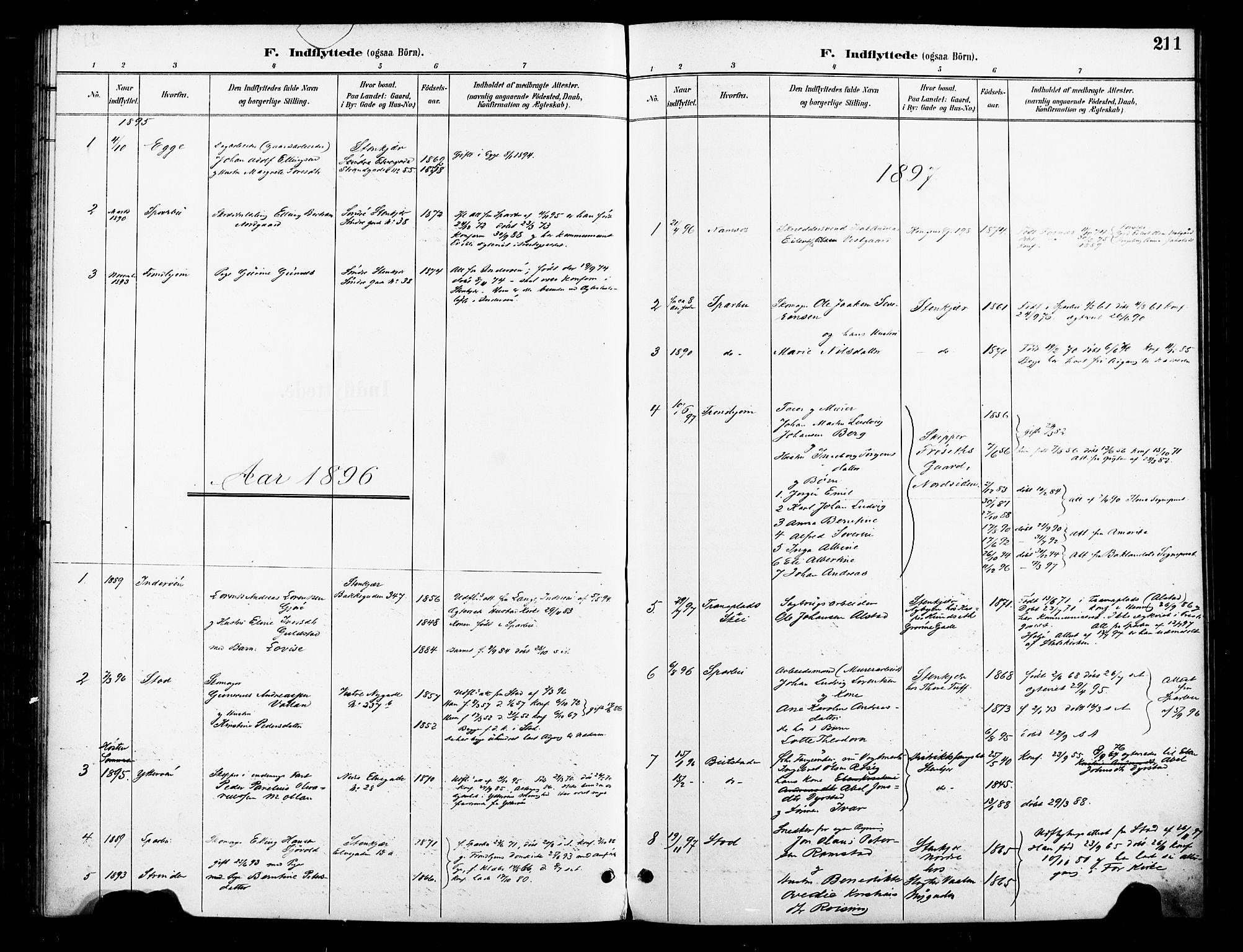 SAT, Ministerialprotokoller, klokkerbøker og fødselsregistre - Nord-Trøndelag, 739/L0372: Ministerialbok nr. 739A04, 1895-1903, s. 211