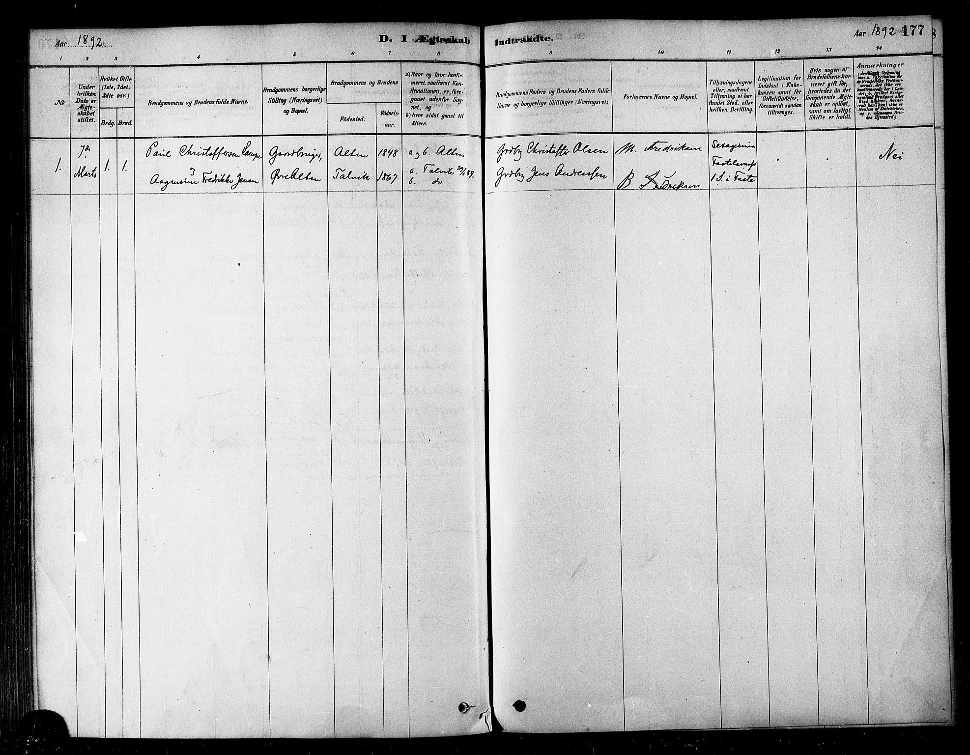 SATØ, Alta sokneprestembete, Ministerialbok nr. 2, 1879-1892, s. 177
