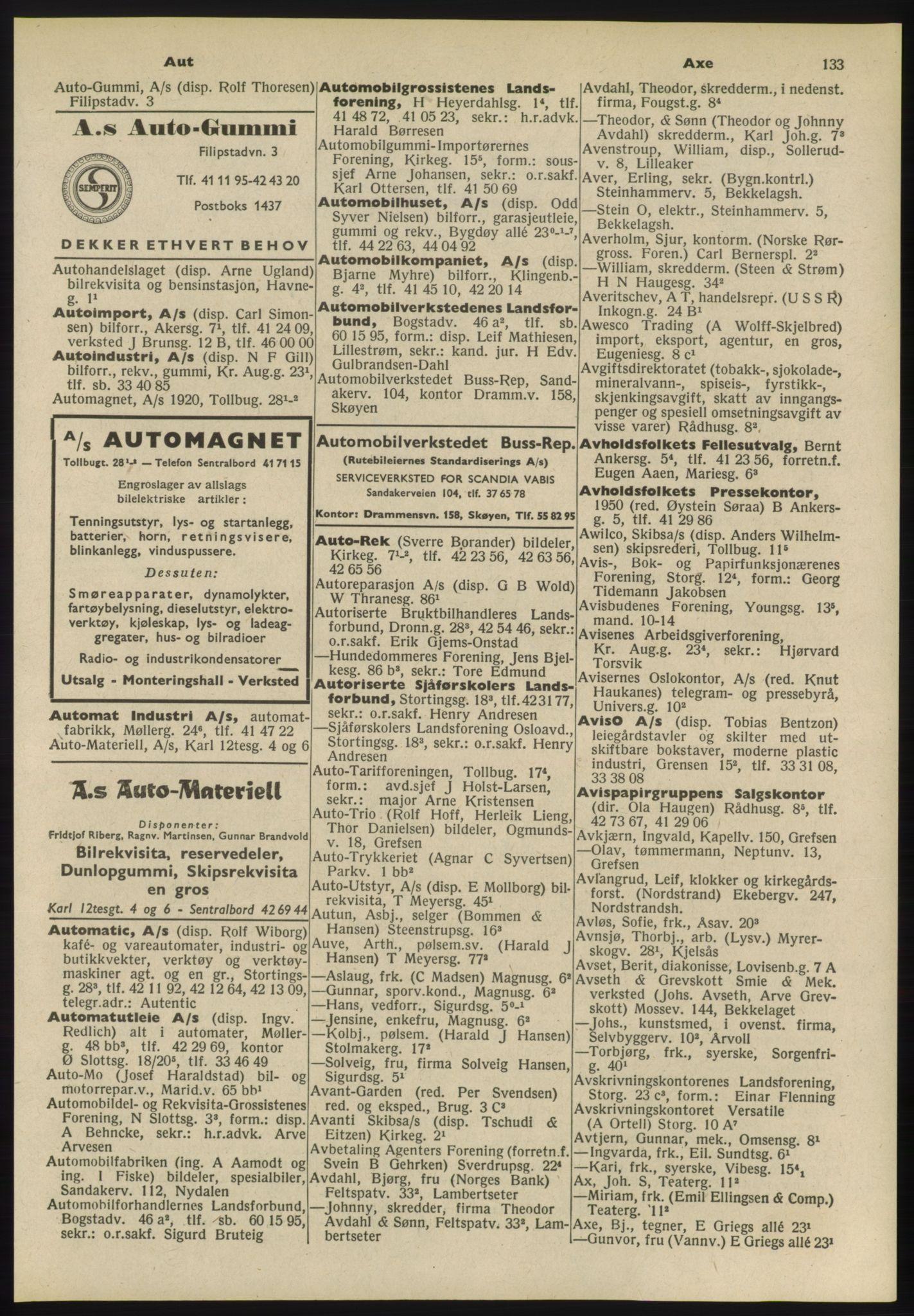 PUBL, Kristiania/Oslo adressebok, 1955, s. 133