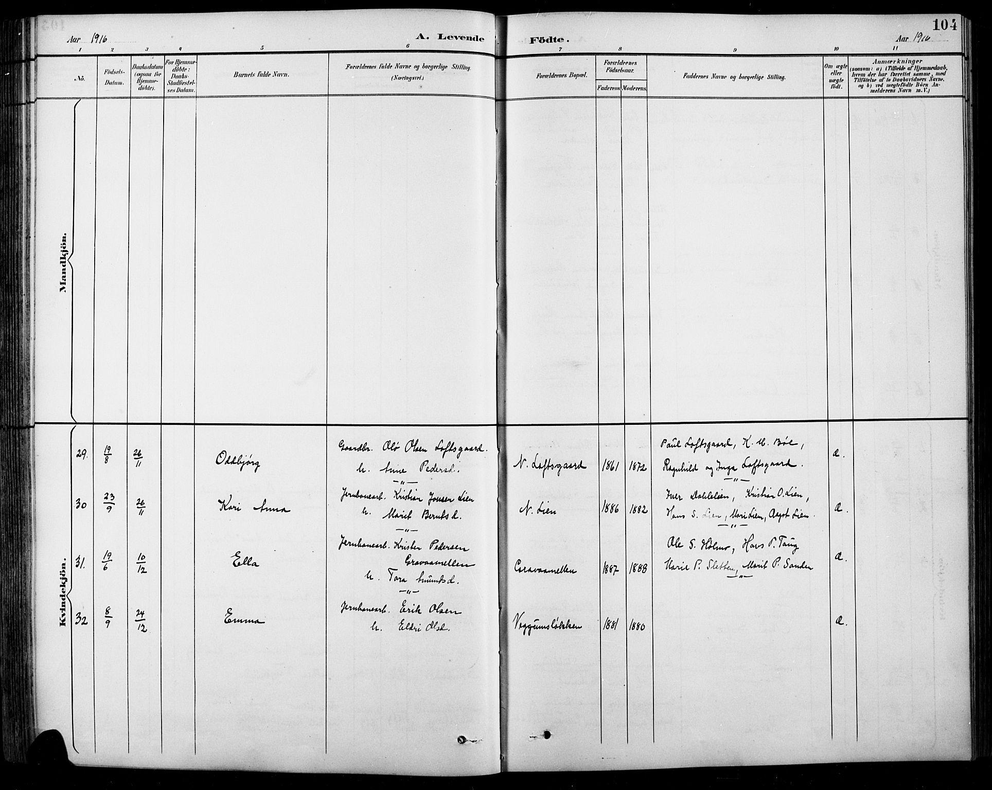 SAH, Sel prestekontor, Klokkerbok nr. 1, 1894-1923, s. 104