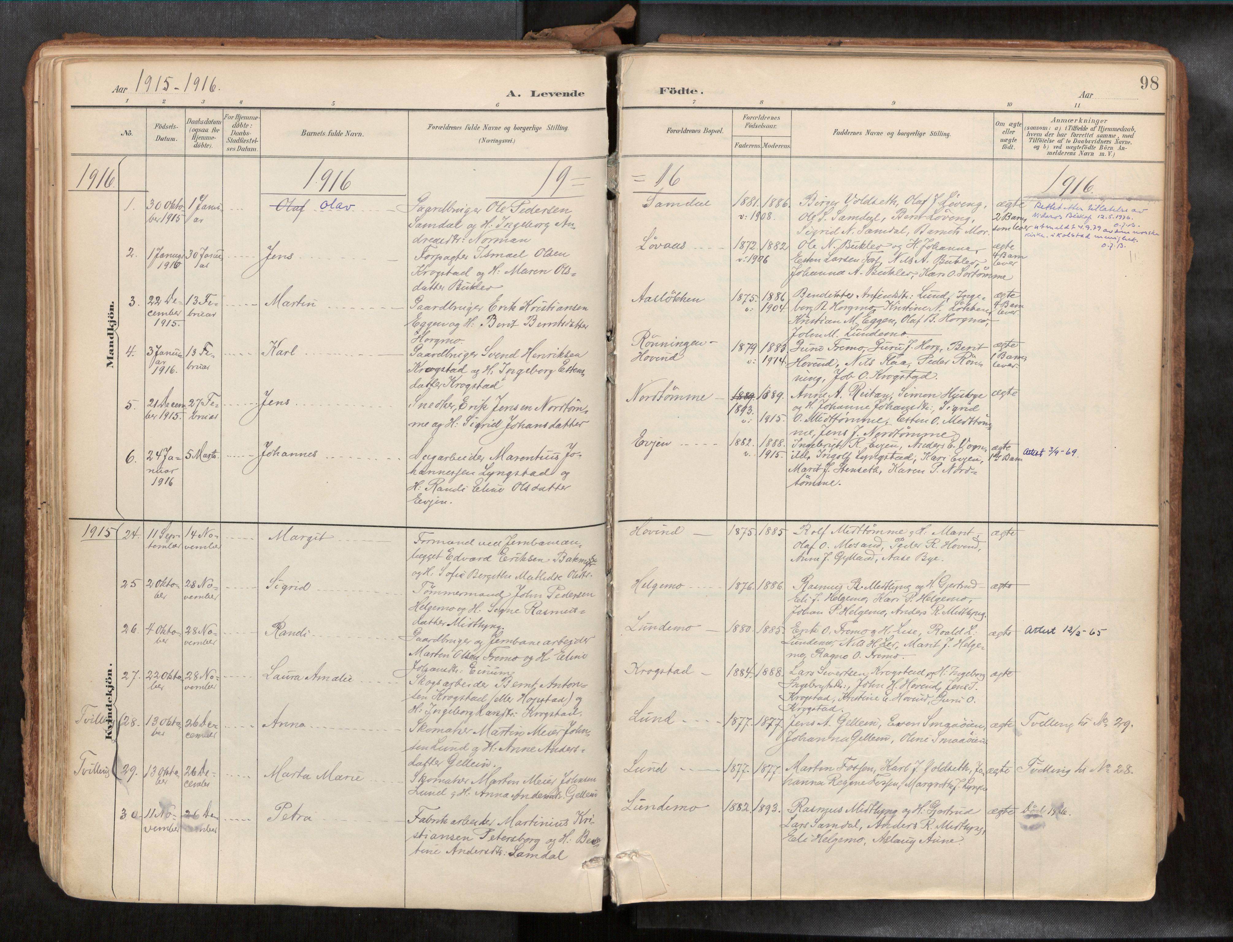 SAT, Ministerialprotokoller, klokkerbøker og fødselsregistre - Sør-Trøndelag, 692/L1105b: Ministerialbok nr. 692A06, 1891-1934, s. 98