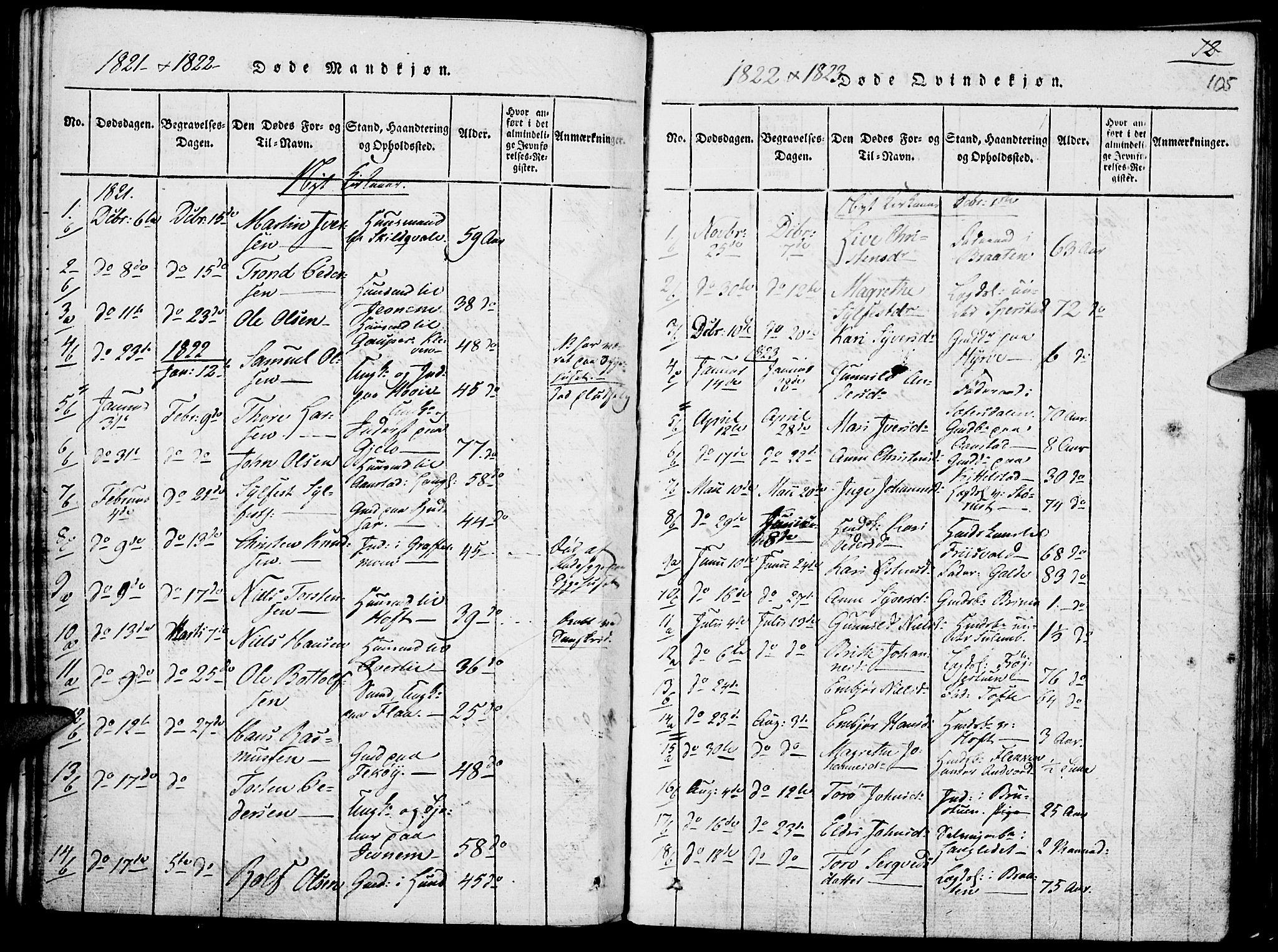 SAH, Lom prestekontor, K/L0004: Ministerialbok nr. 4, 1815-1825, s. 105
