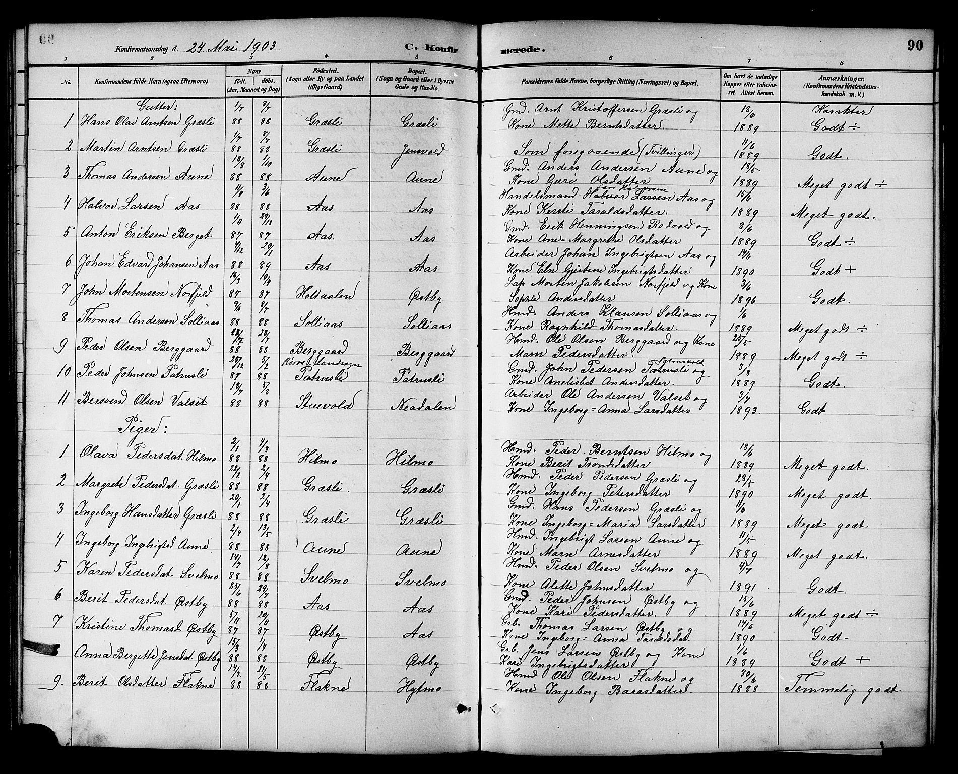 SAT, Ministerialprotokoller, klokkerbøker og fødselsregistre - Sør-Trøndelag, 698/L1167: Klokkerbok nr. 698C04, 1888-1907, s. 90