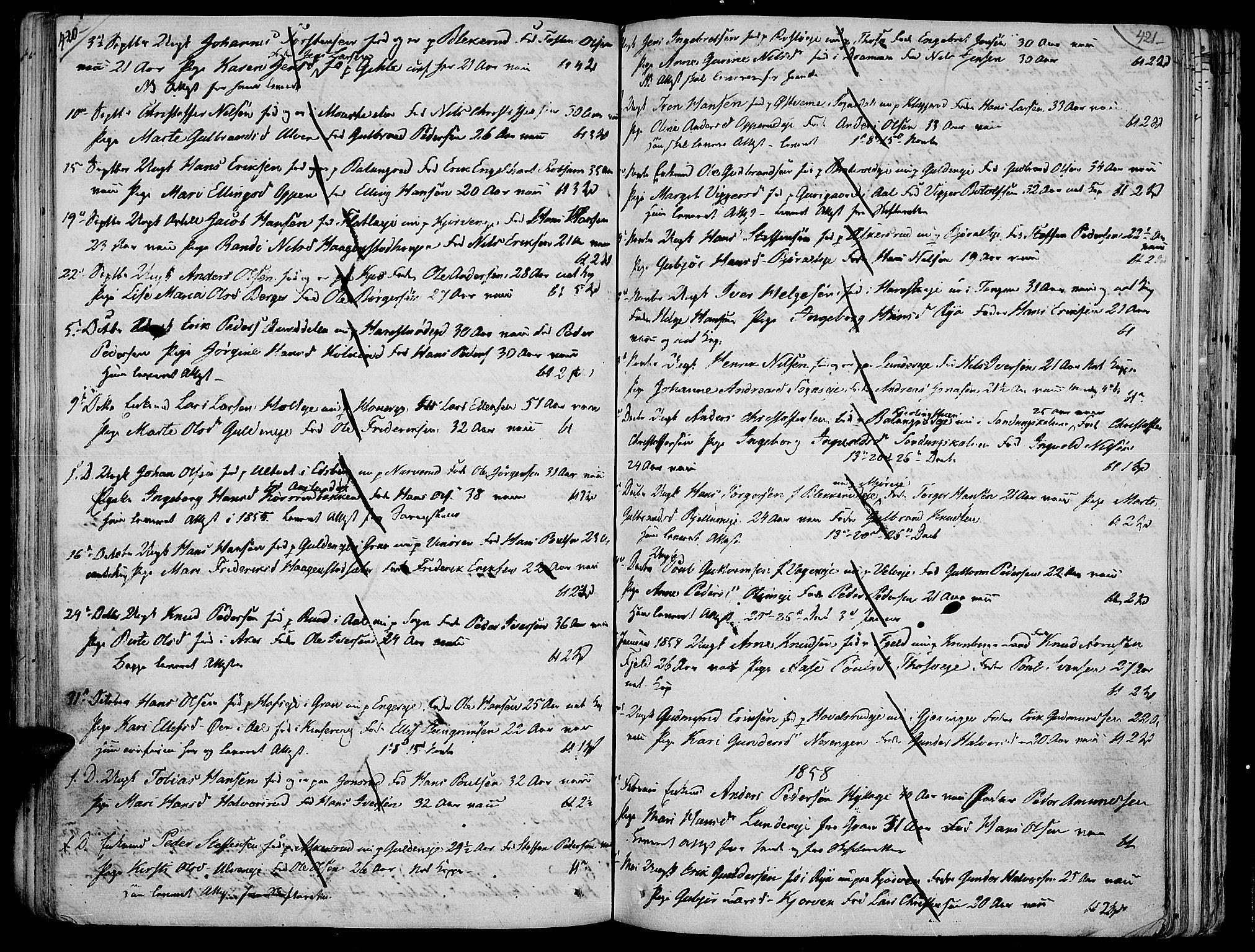 SAH, Jevnaker prestekontor, Ministerialbok nr. 4, 1800-1861, s. 420-421