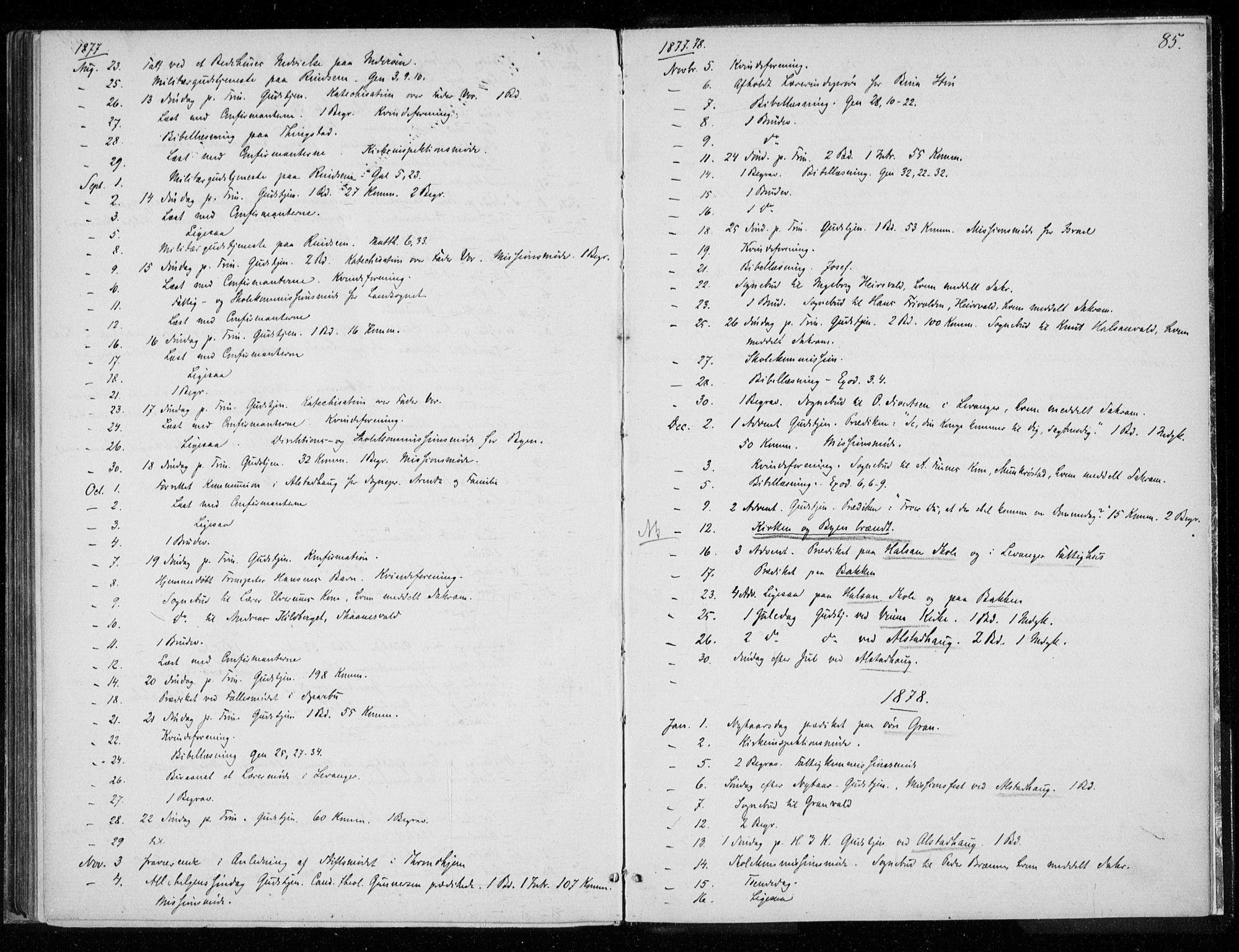 SAT, Ministerialprotokoller, klokkerbøker og fødselsregistre - Nord-Trøndelag, 720/L0187: Ministerialbok nr. 720A04 /1, 1875-1879, s. 85