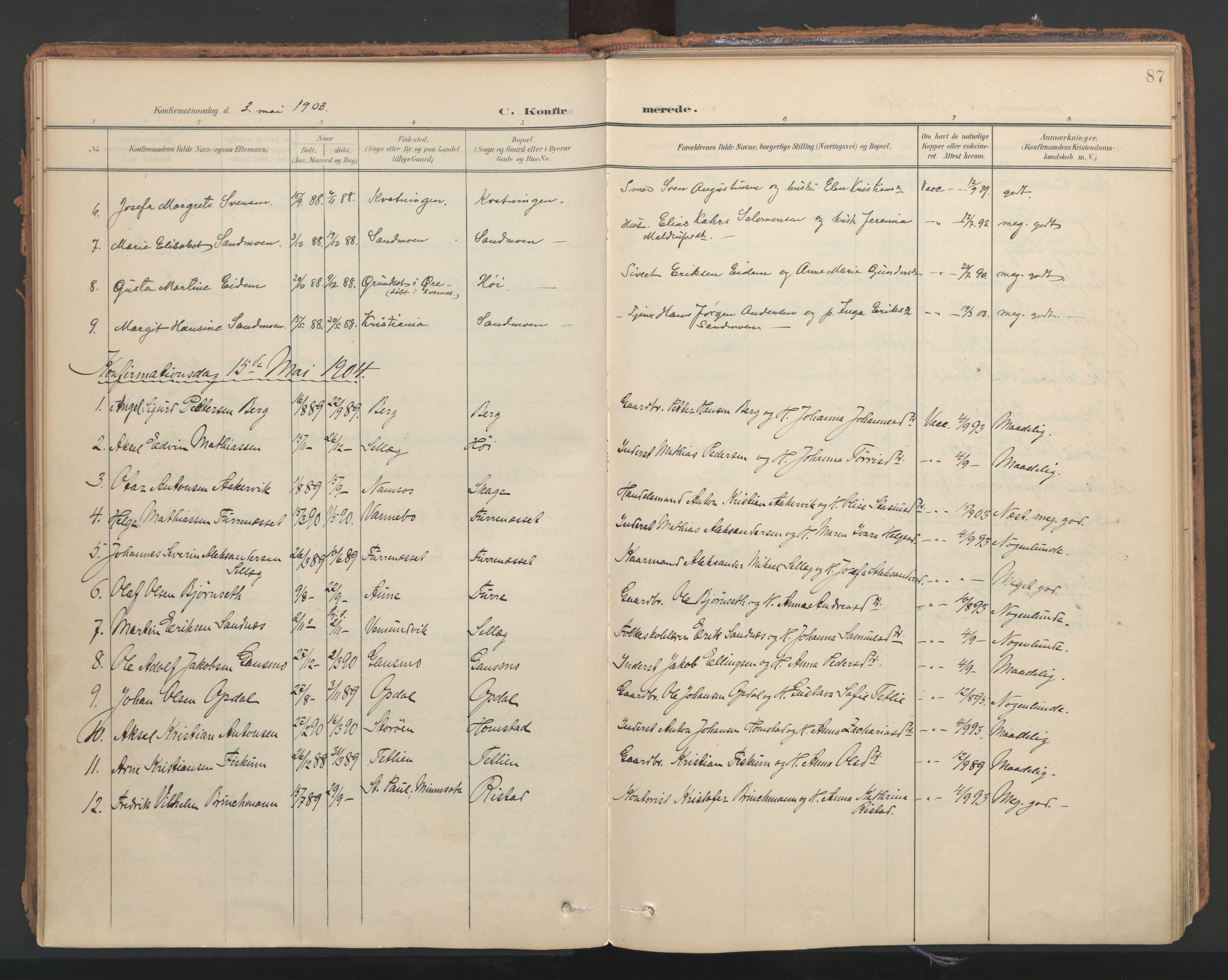 SAT, Ministerialprotokoller, klokkerbøker og fødselsregistre - Nord-Trøndelag, 766/L0564: Ministerialbok nr. 767A02, 1900-1932, s. 87