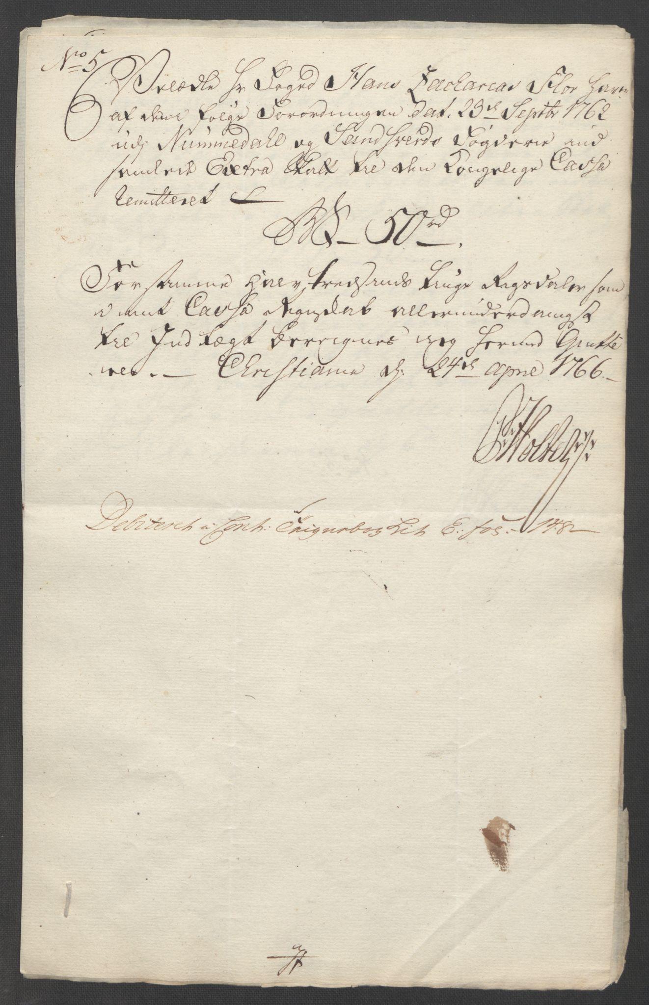 RA, Rentekammeret inntil 1814, Reviderte regnskaper, Fogderegnskap, R24/L1672: Ekstraskatten Numedal og Sandsvær, 1762-1767, s. 314