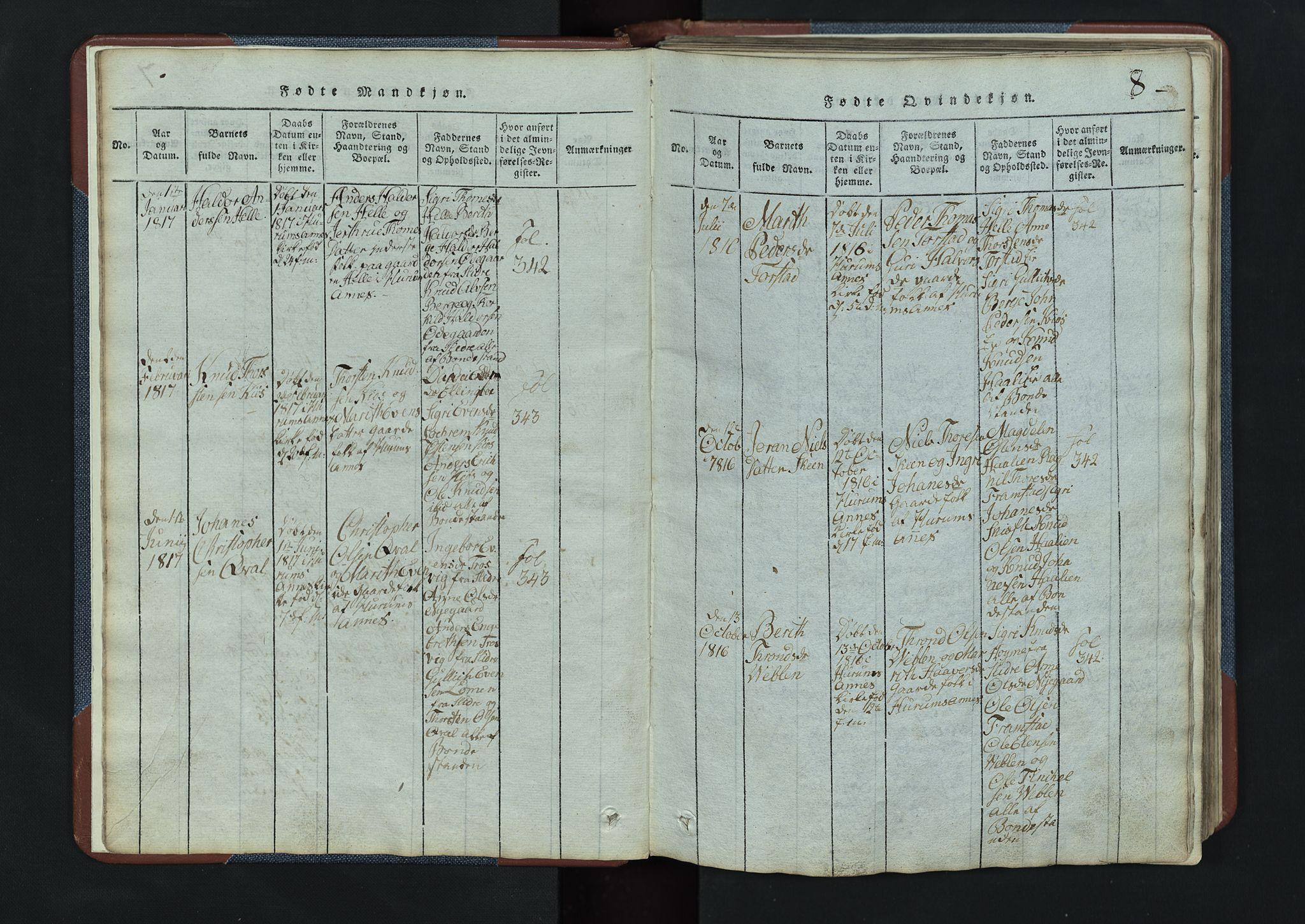 SAH, Vang prestekontor, Valdres, Klokkerbok nr. 3, 1814-1892, s. 8