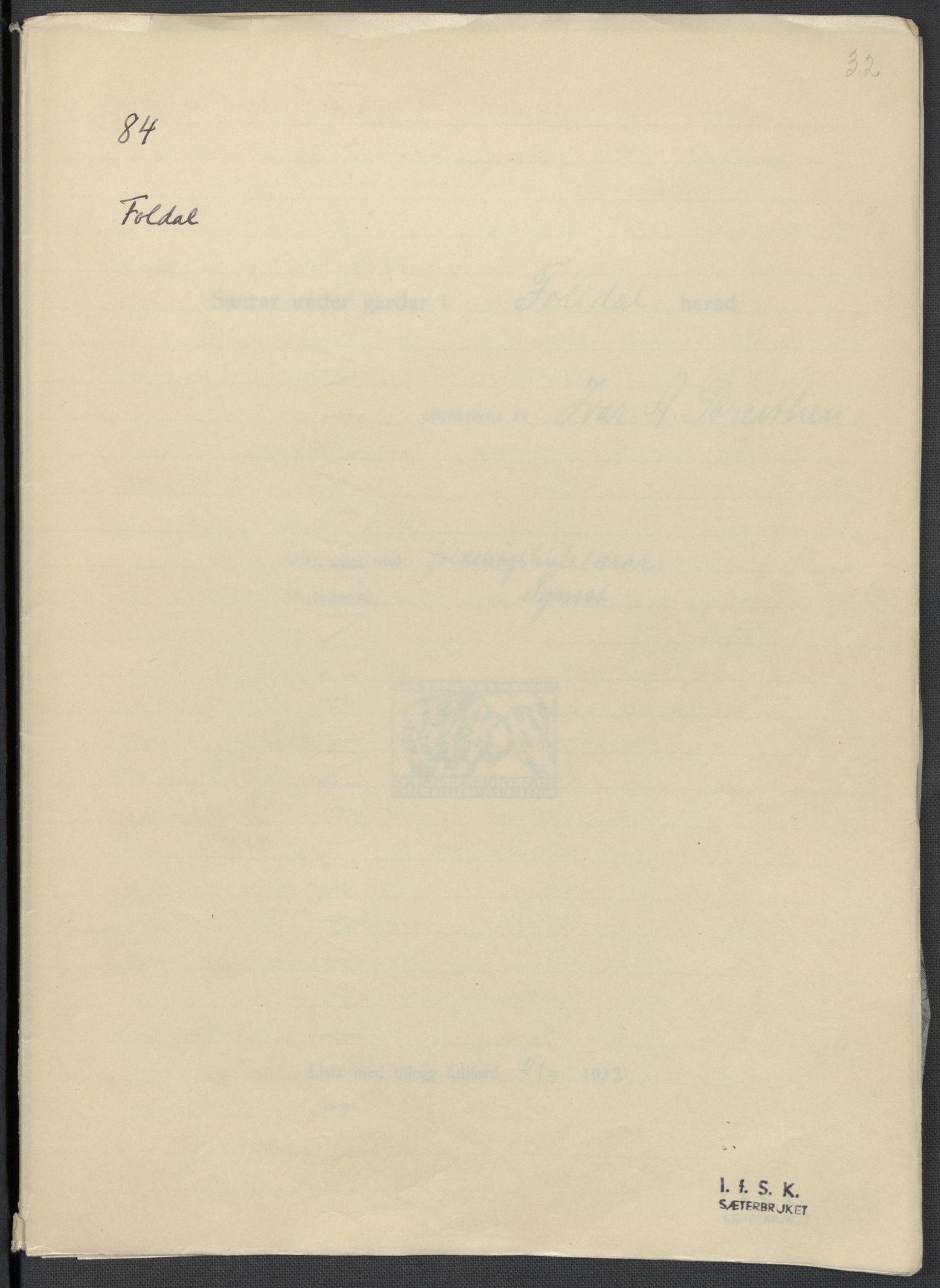 RA, Instituttet for sammenlignende kulturforskning, F/Fc/L0003: Eske B3:, 1933-1939, s. 32